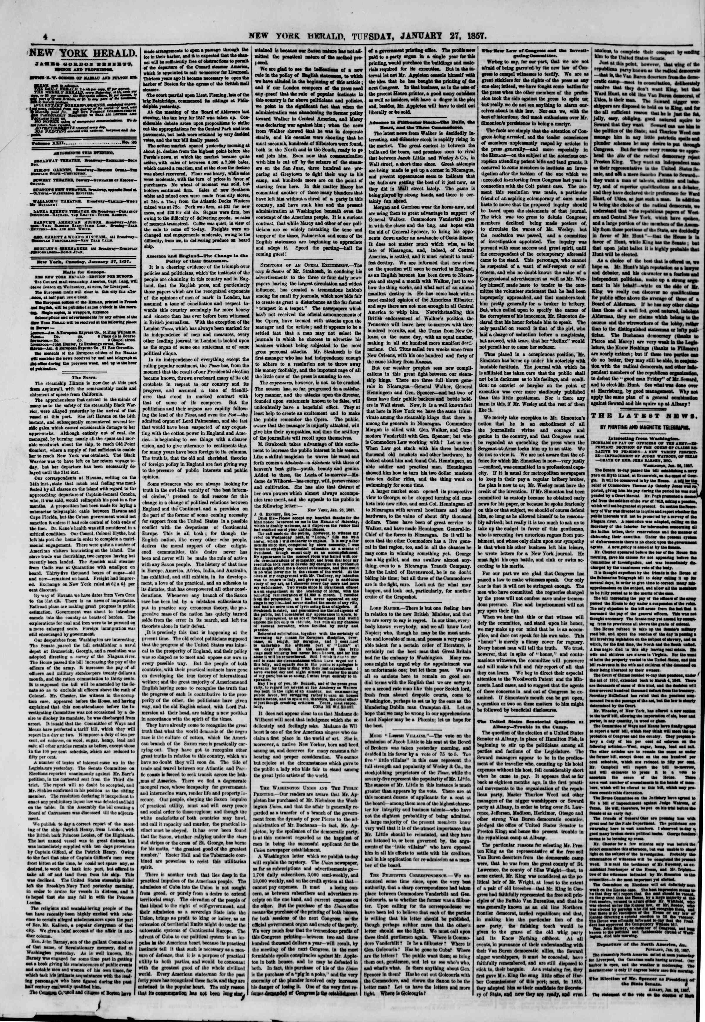 Newspaper of The New York Herald dated January 27, 1857 Page 4