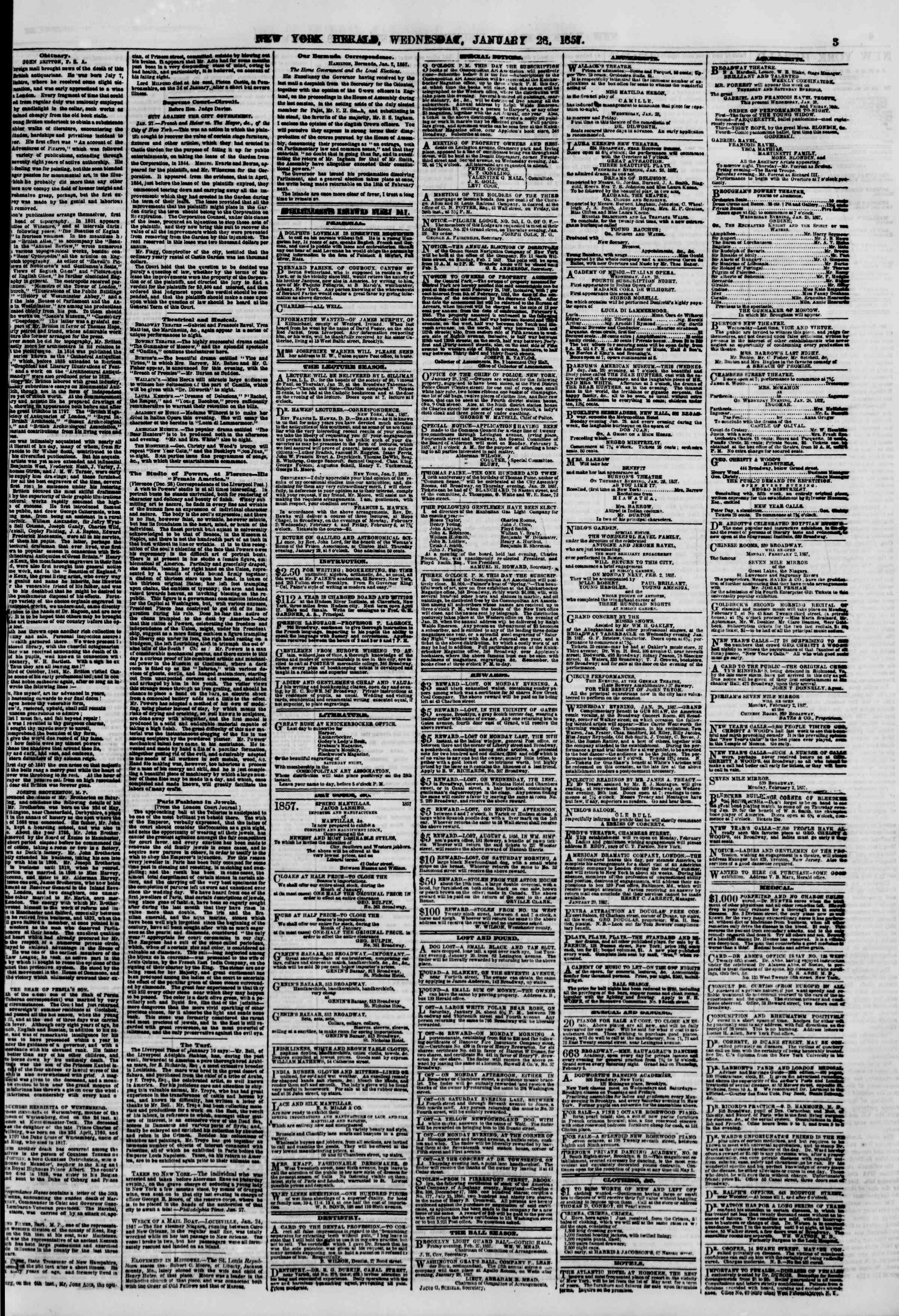 Newspaper of The New York Herald dated January 28, 1857 Page 3