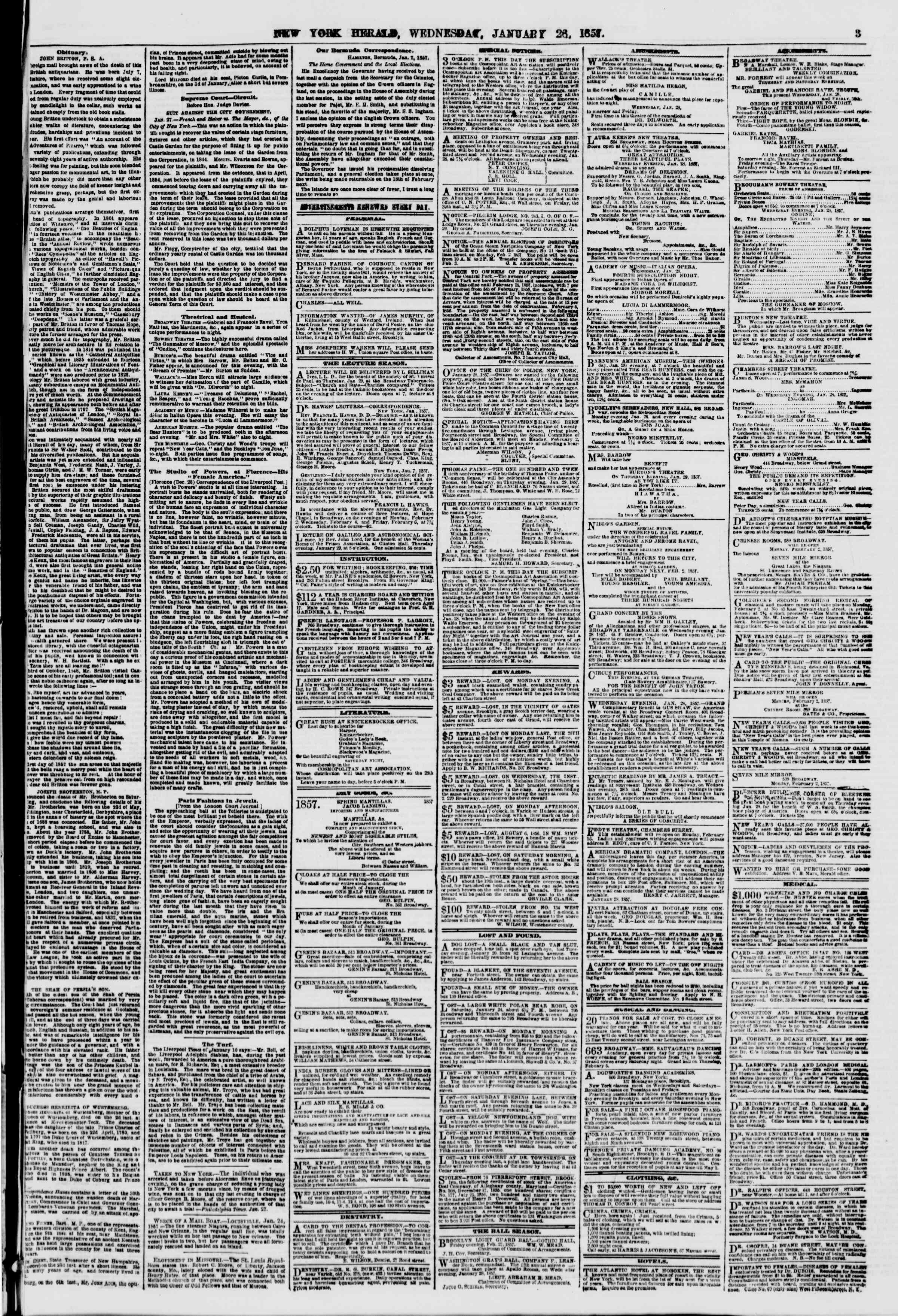 Newspaper of The New York Herald dated January 28, 1857 Page 5