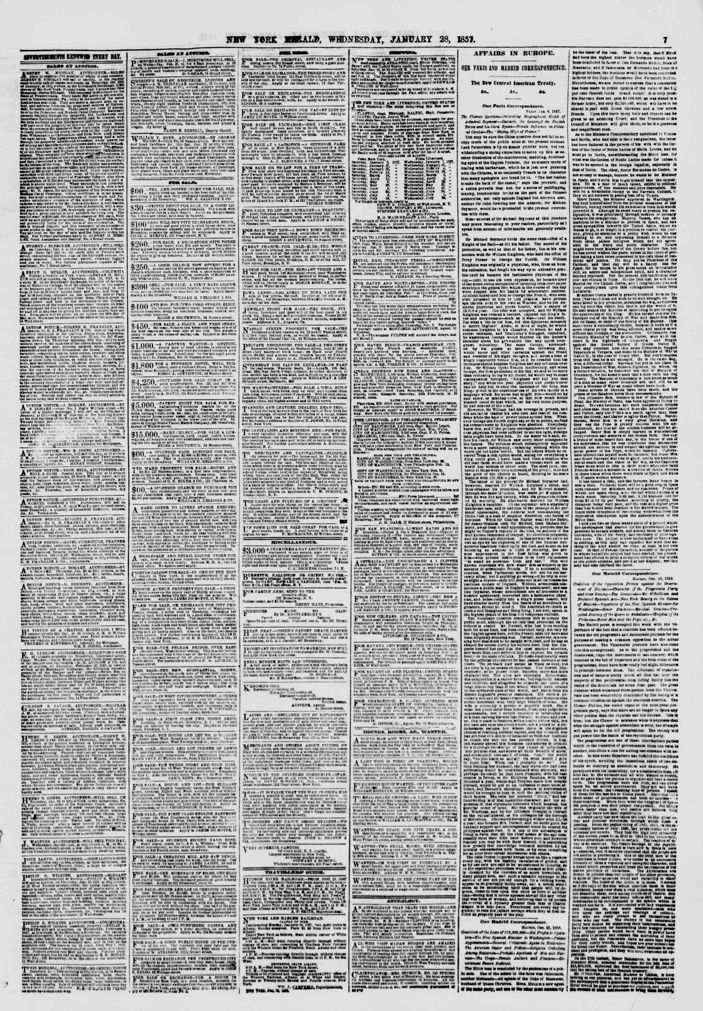 Newspaper of The New York Herald dated January 28, 1857 Page 9