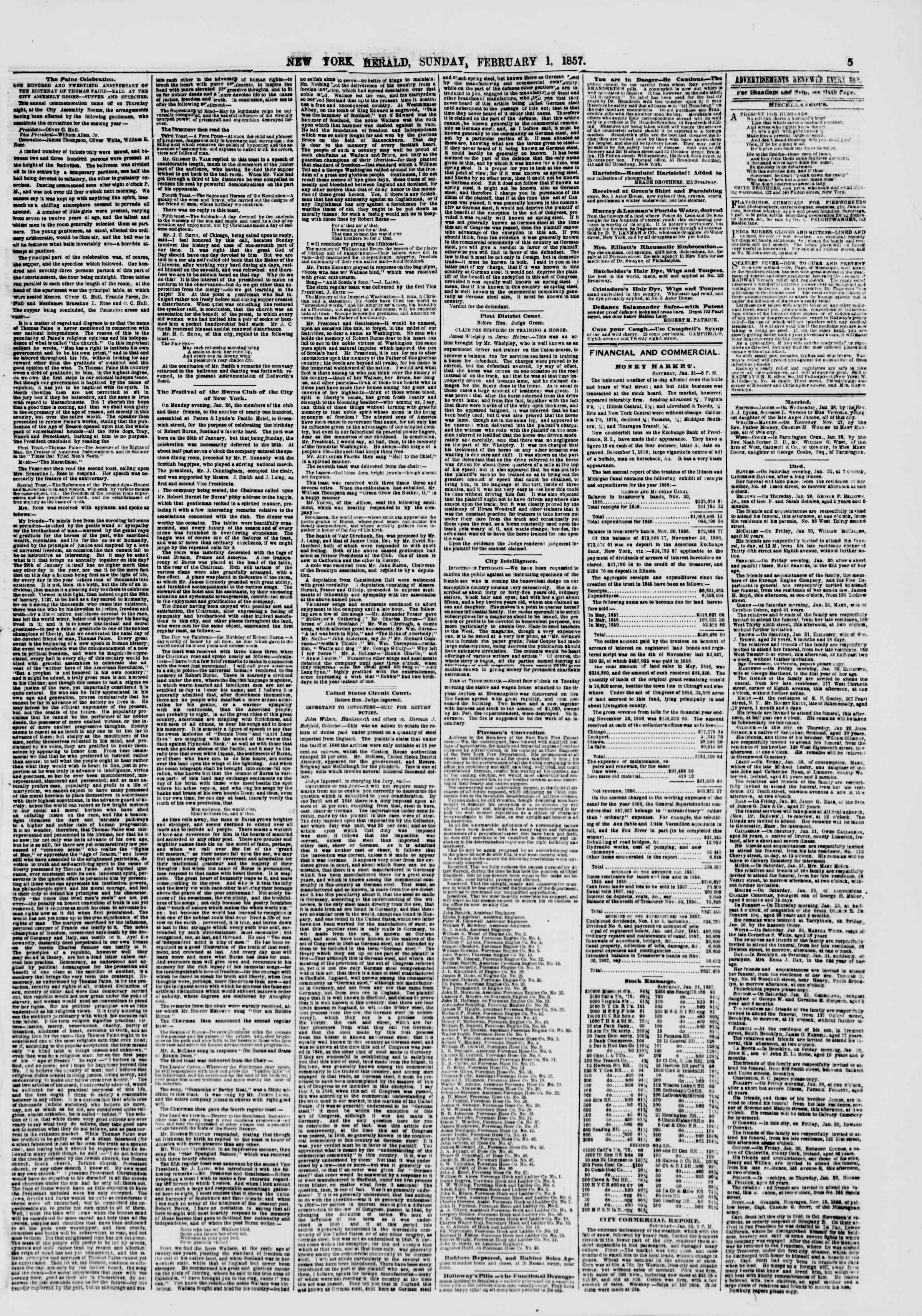 Newspaper of The New York Herald dated February 1, 1857 Page 5