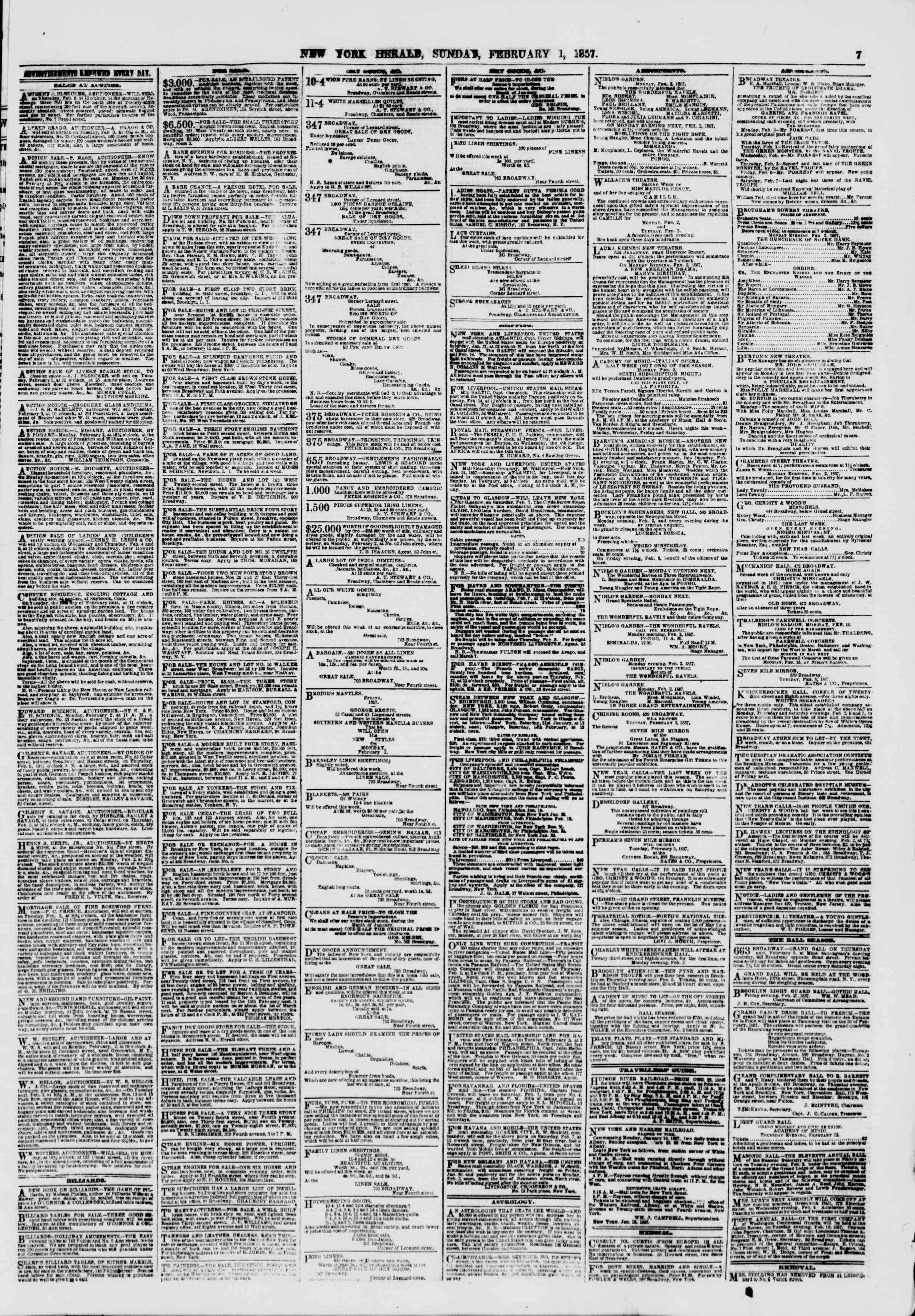 Newspaper of The New York Herald dated February 1, 1857 Page 7