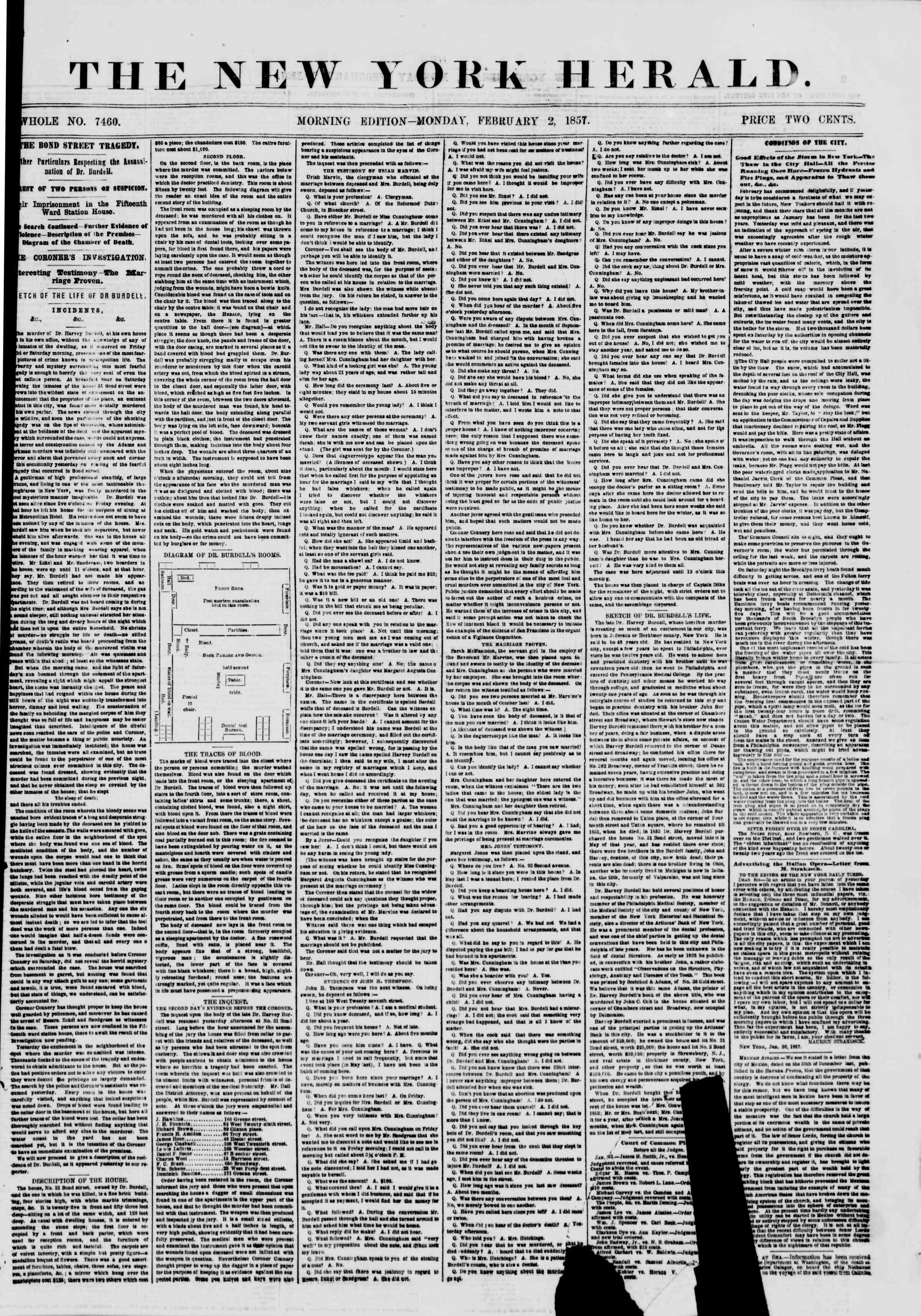 Newspaper of The New York Herald dated February 2, 1857 Page 1