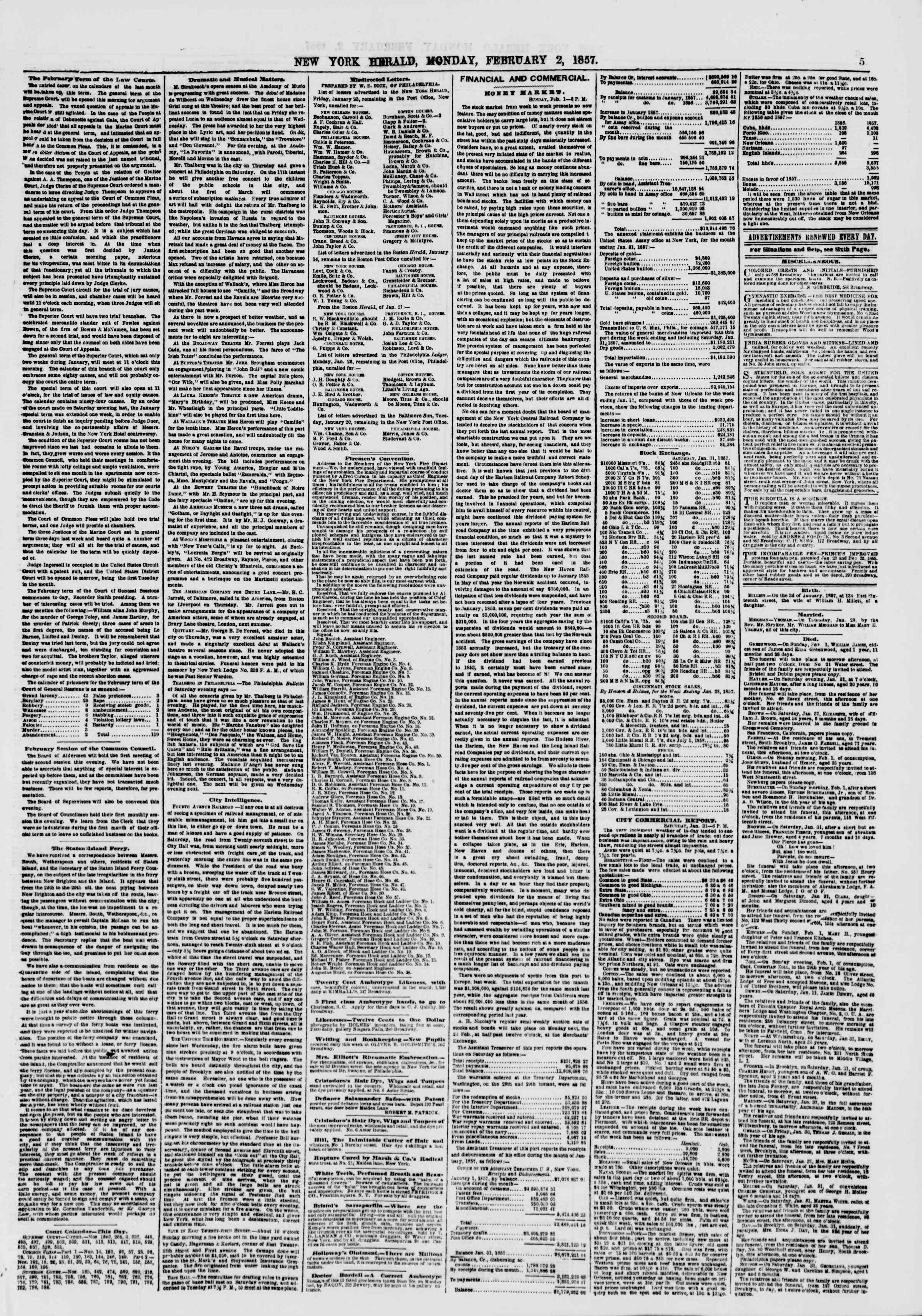 Newspaper of The New York Herald dated February 2, 1857 Page 5