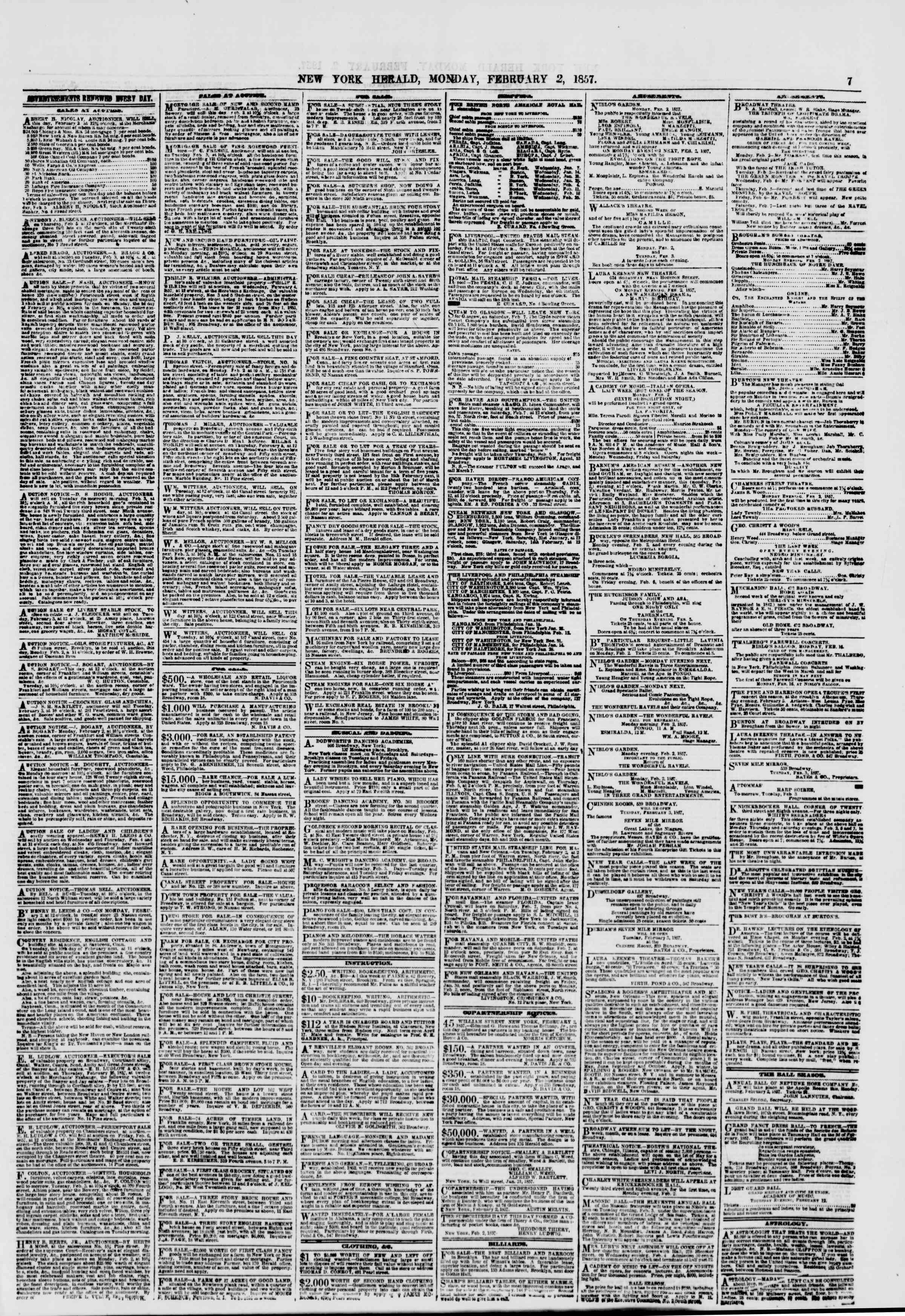 Newspaper of The New York Herald dated February 2, 1857 Page 7