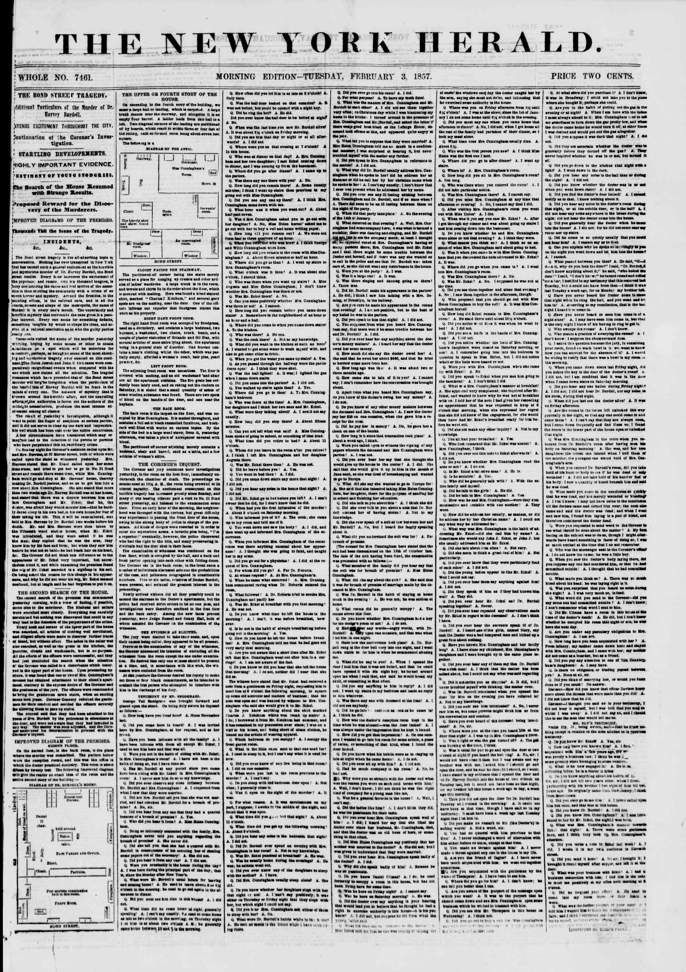 Newspaper of The New York Herald dated February 3, 1857 Page 1