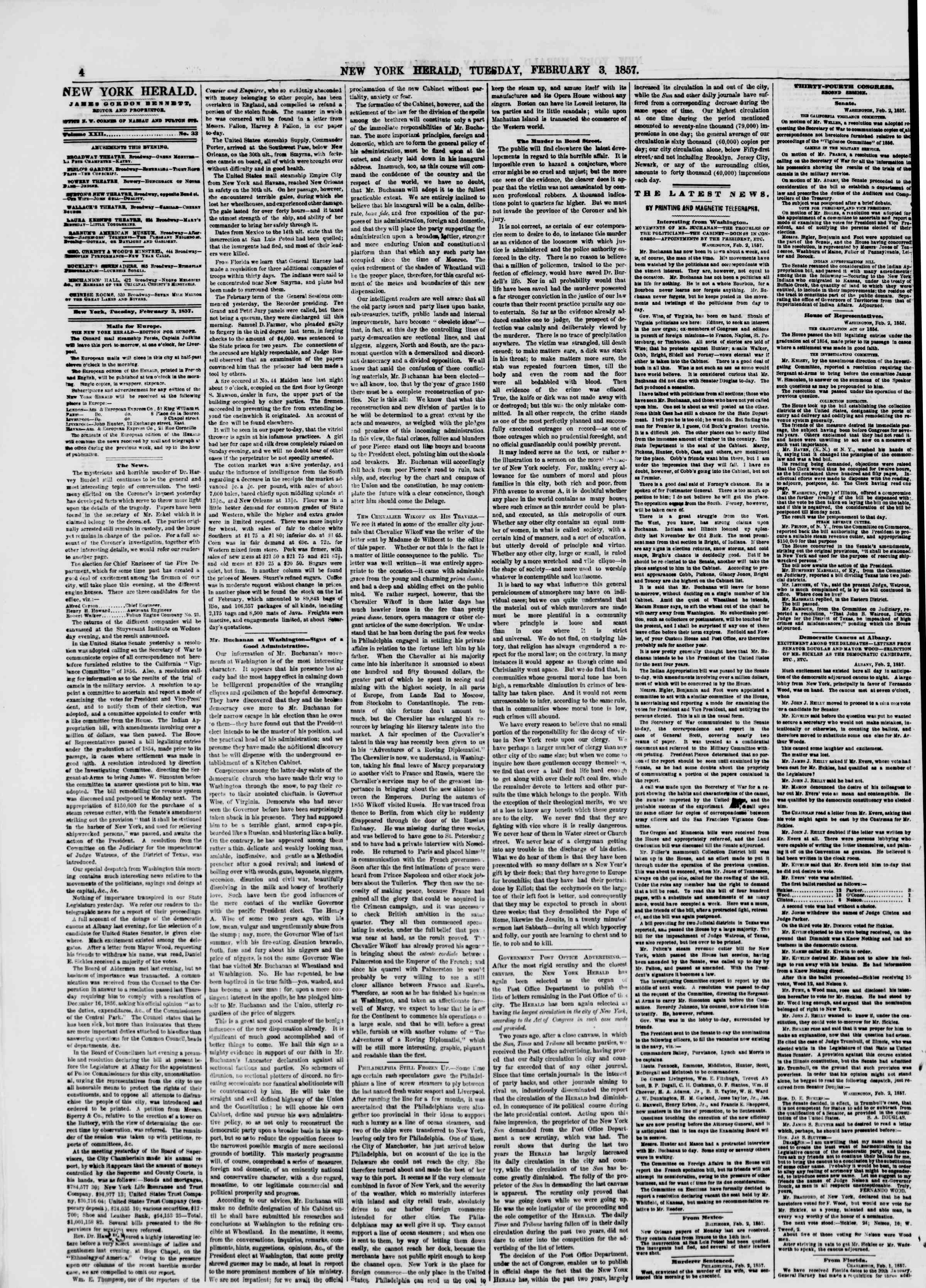 Newspaper of The New York Herald dated February 3, 1857 Page 4