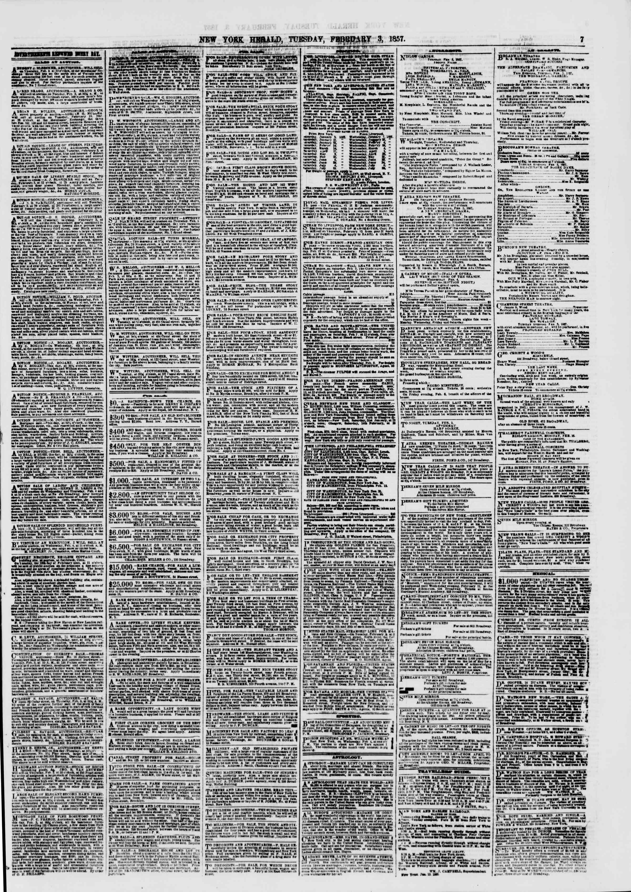 Newspaper of The New York Herald dated February 3, 1857 Page 7