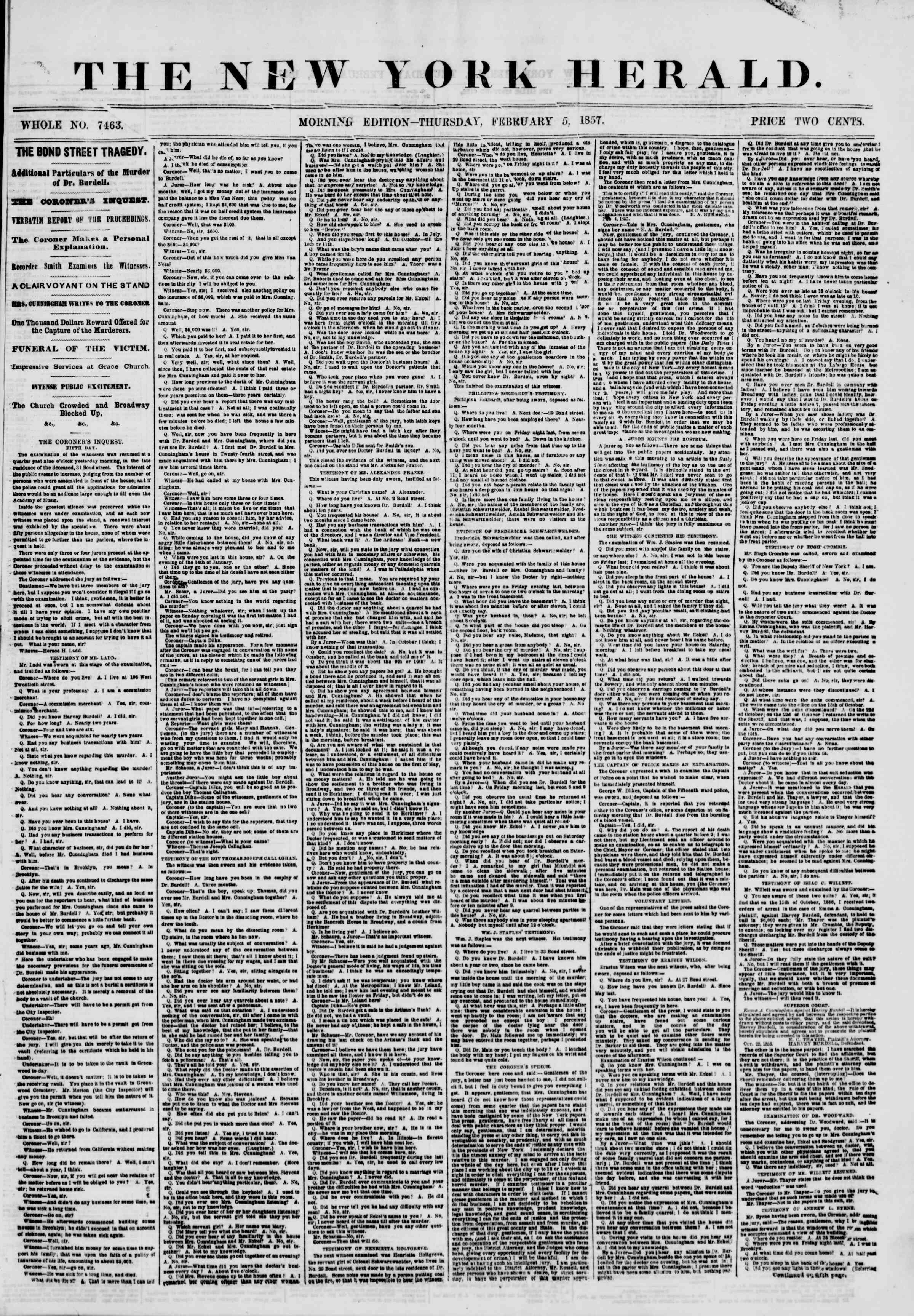 Newspaper of The New York Herald dated February 5, 1857 Page 1