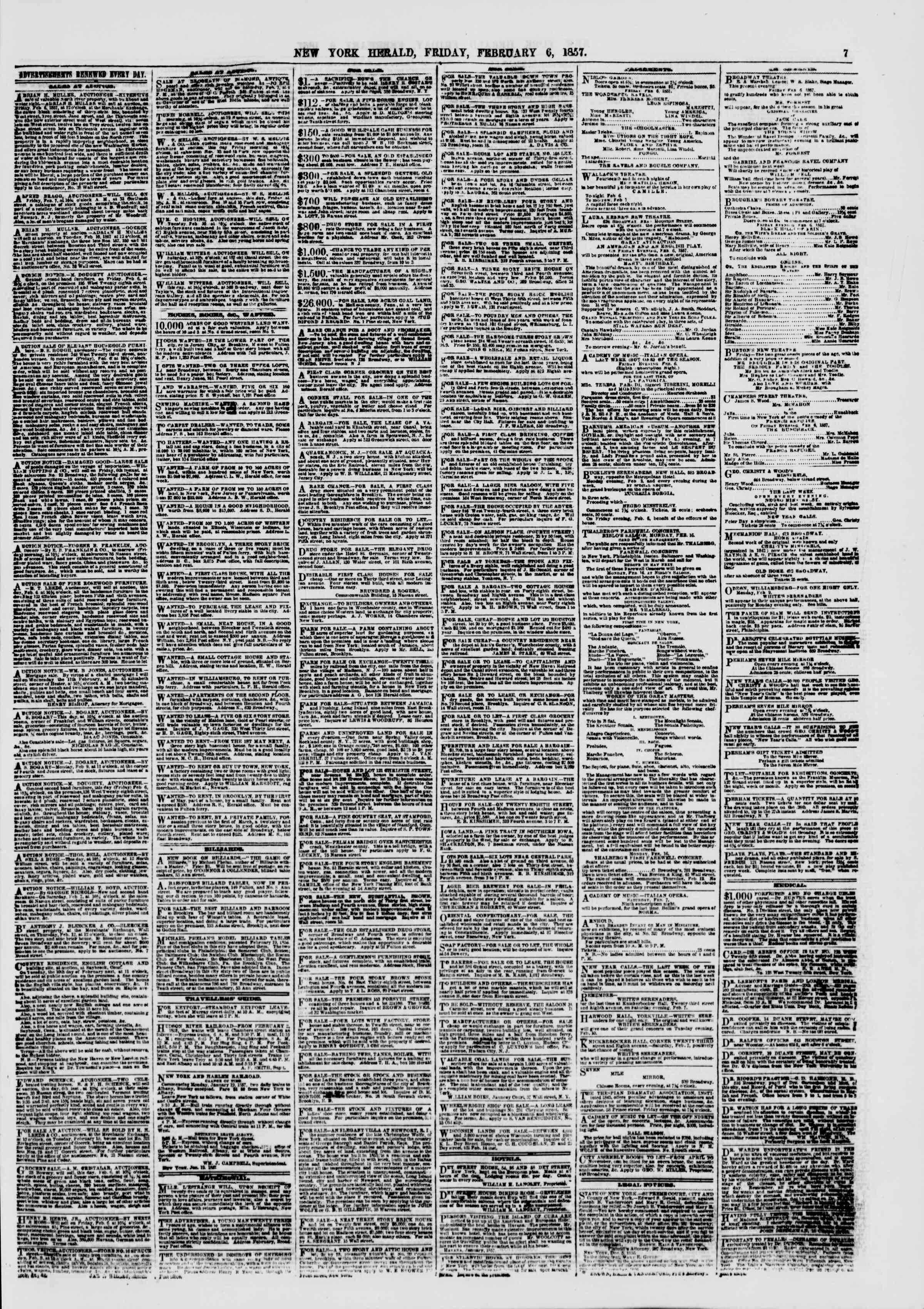 Newspaper of The New York Herald dated February 6, 1857 Page 7