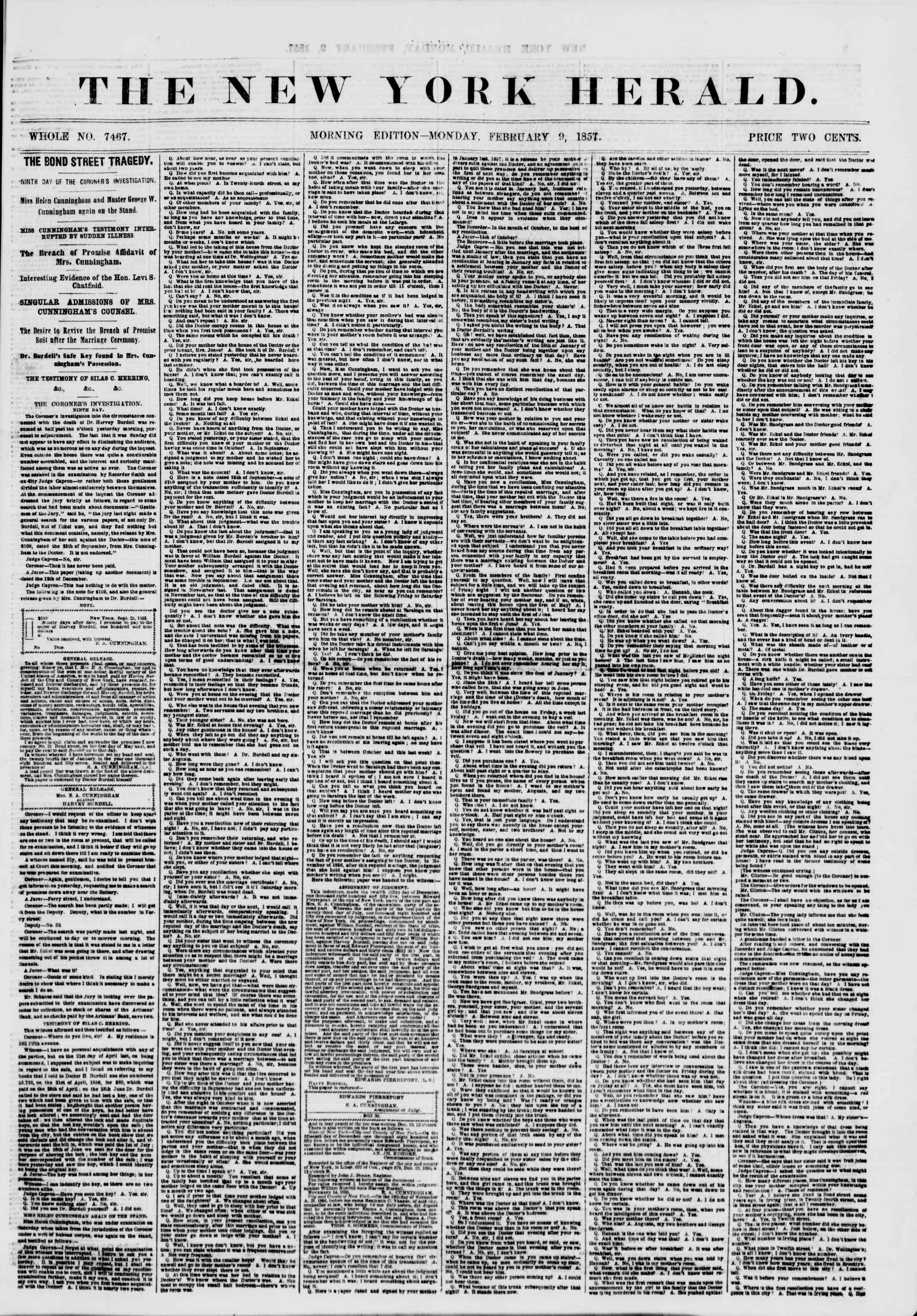 Newspaper of The New York Herald dated February 9, 1857 Page 1