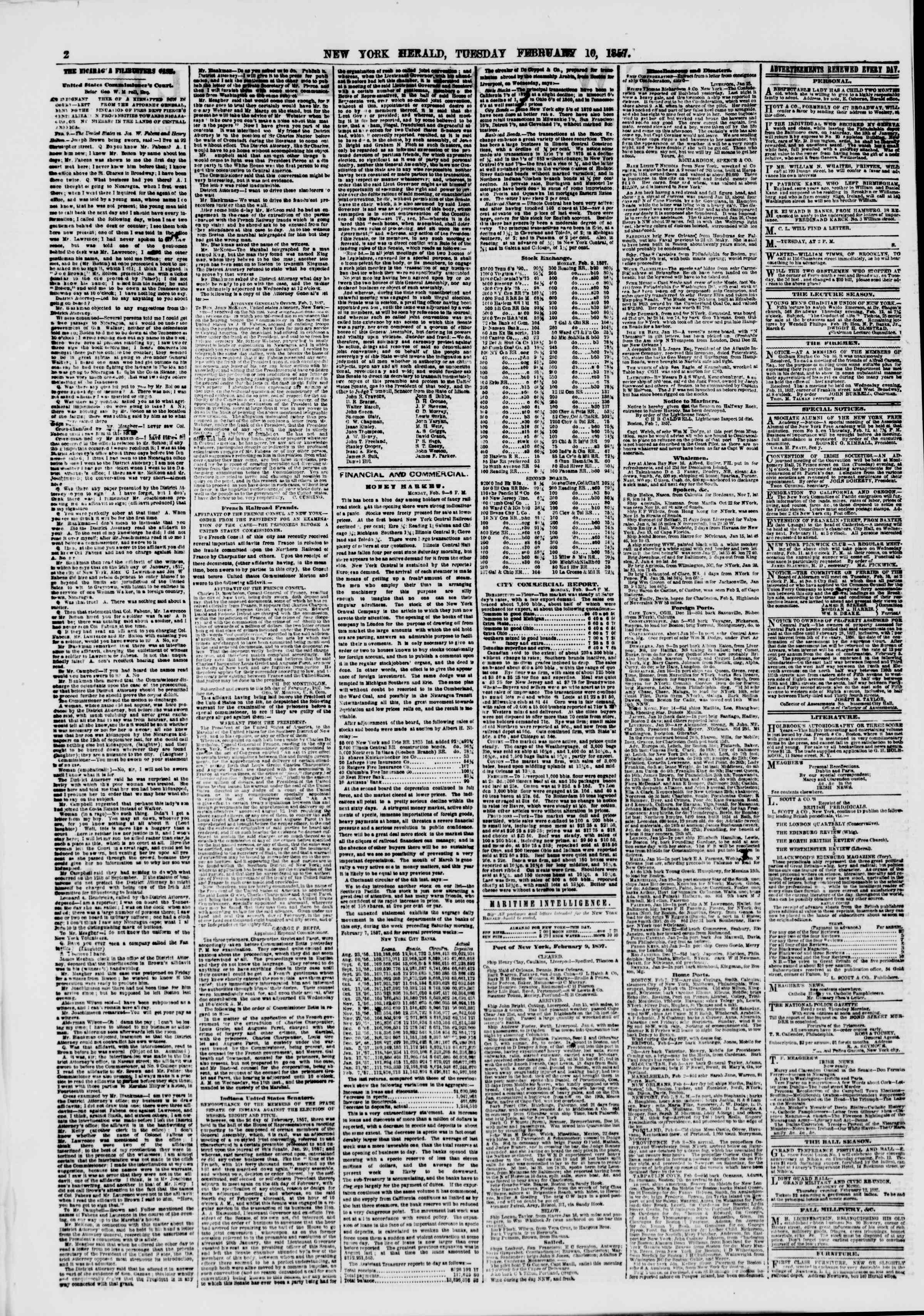 Newspaper of The New York Herald dated February 10, 1857 Page 2