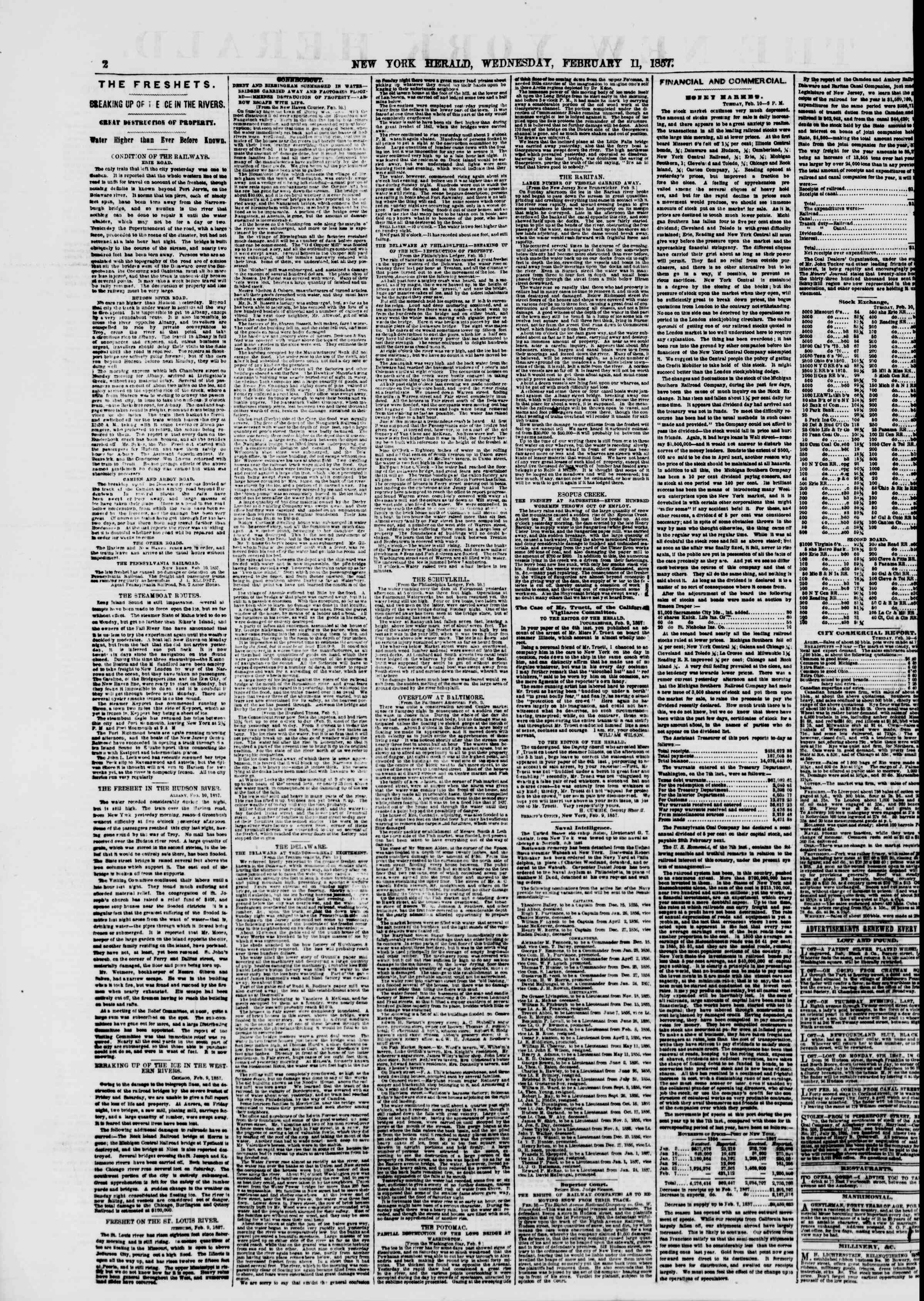 Newspaper of The New York Herald dated February 11, 1857 Page 2