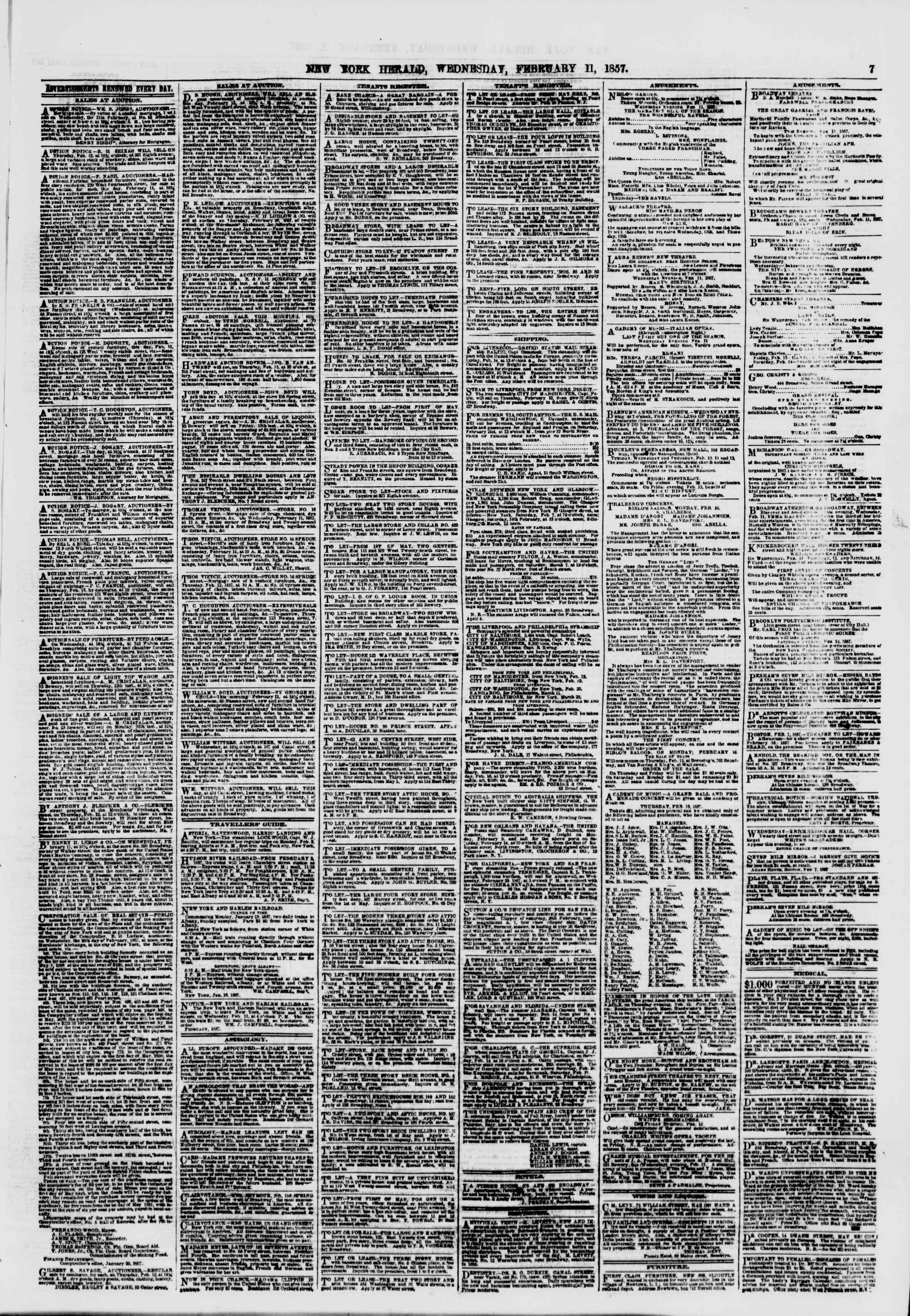 Newspaper of The New York Herald dated February 11, 1857 Page 7