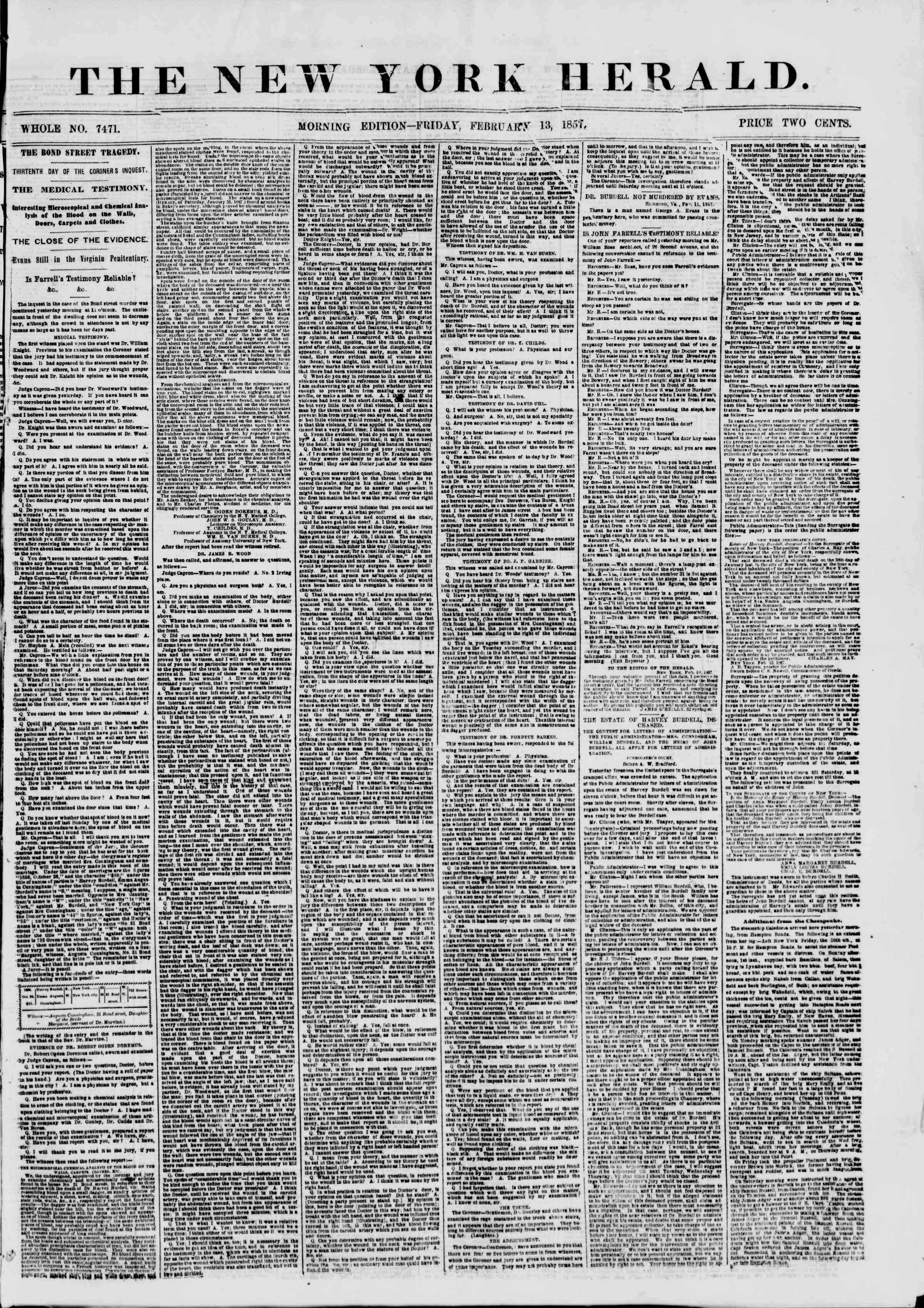 Newspaper of The New York Herald dated February 13, 1857 Page 1