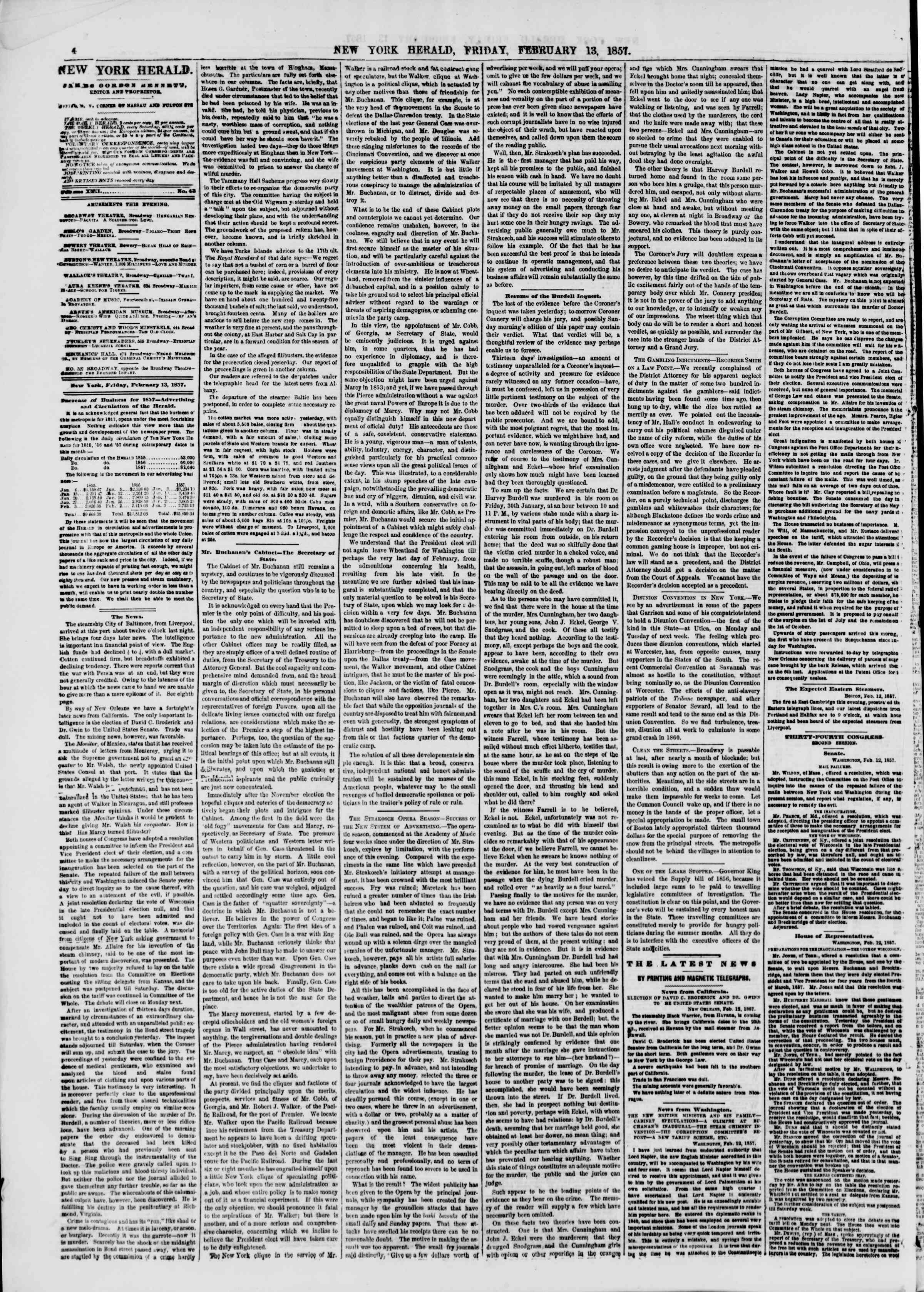 Newspaper of The New York Herald dated February 13, 1857 Page 4