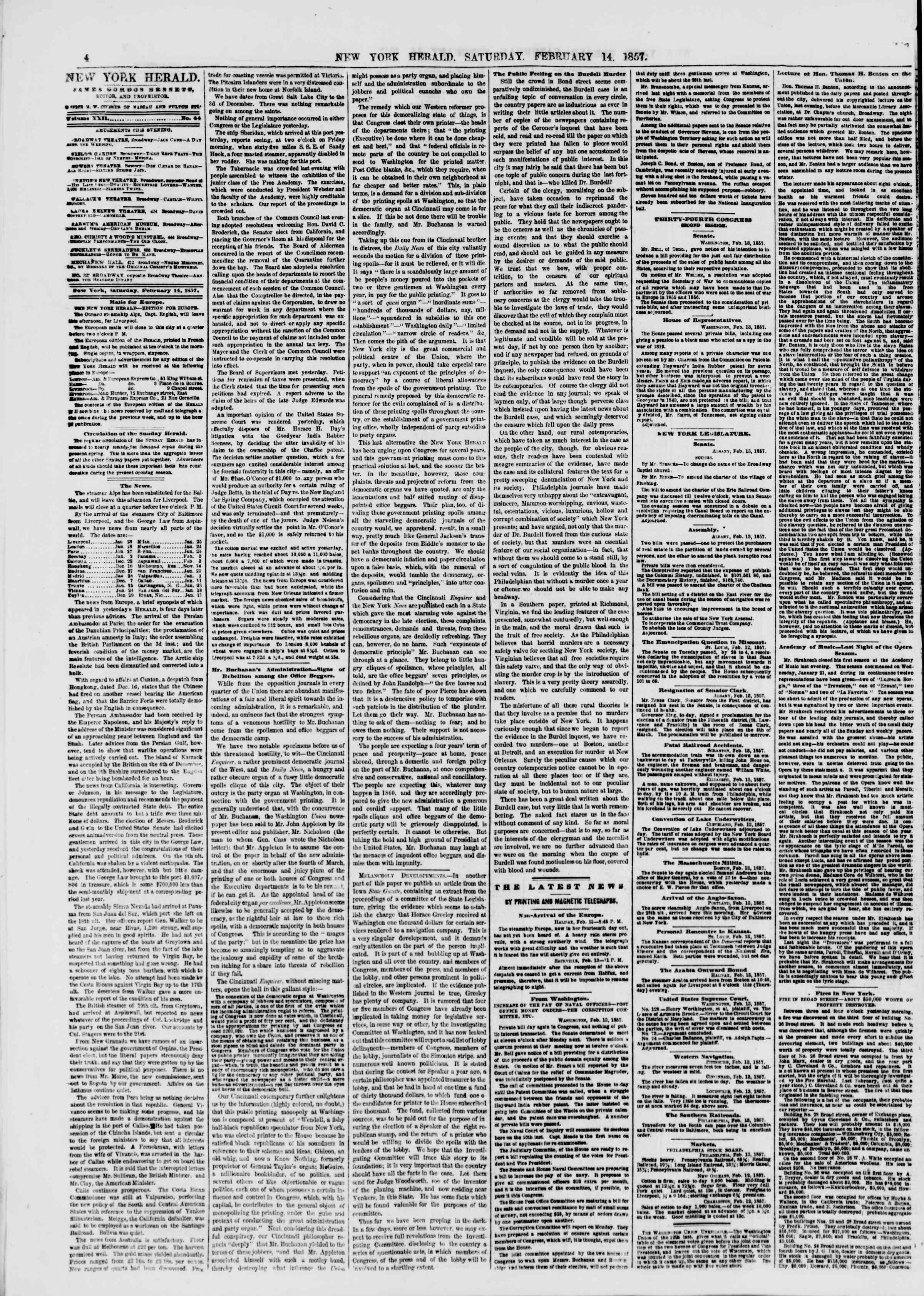Newspaper of The New York Herald dated February 14, 1857 Page 4