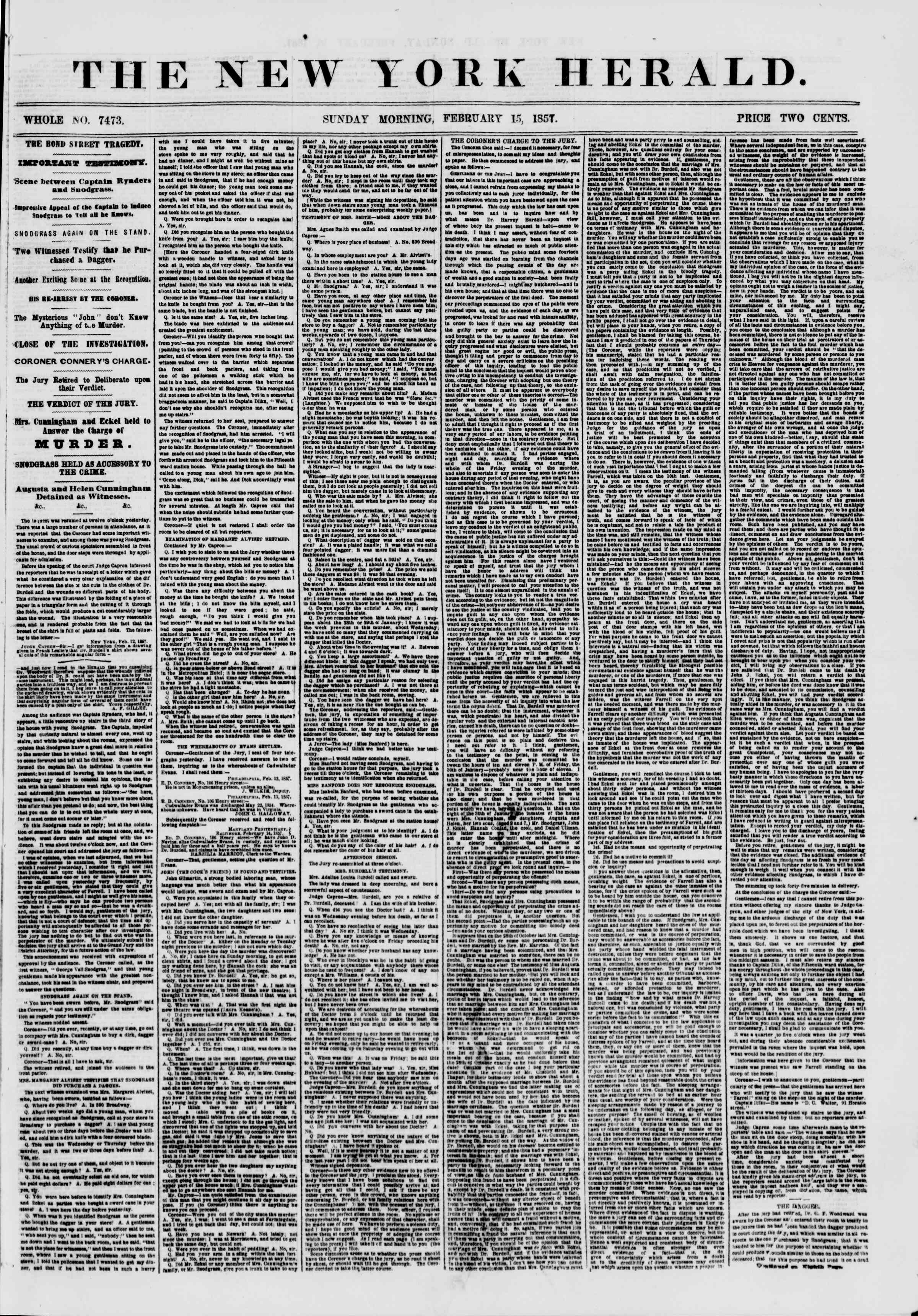Newspaper of The New York Herald dated February 15, 1857 Page 1
