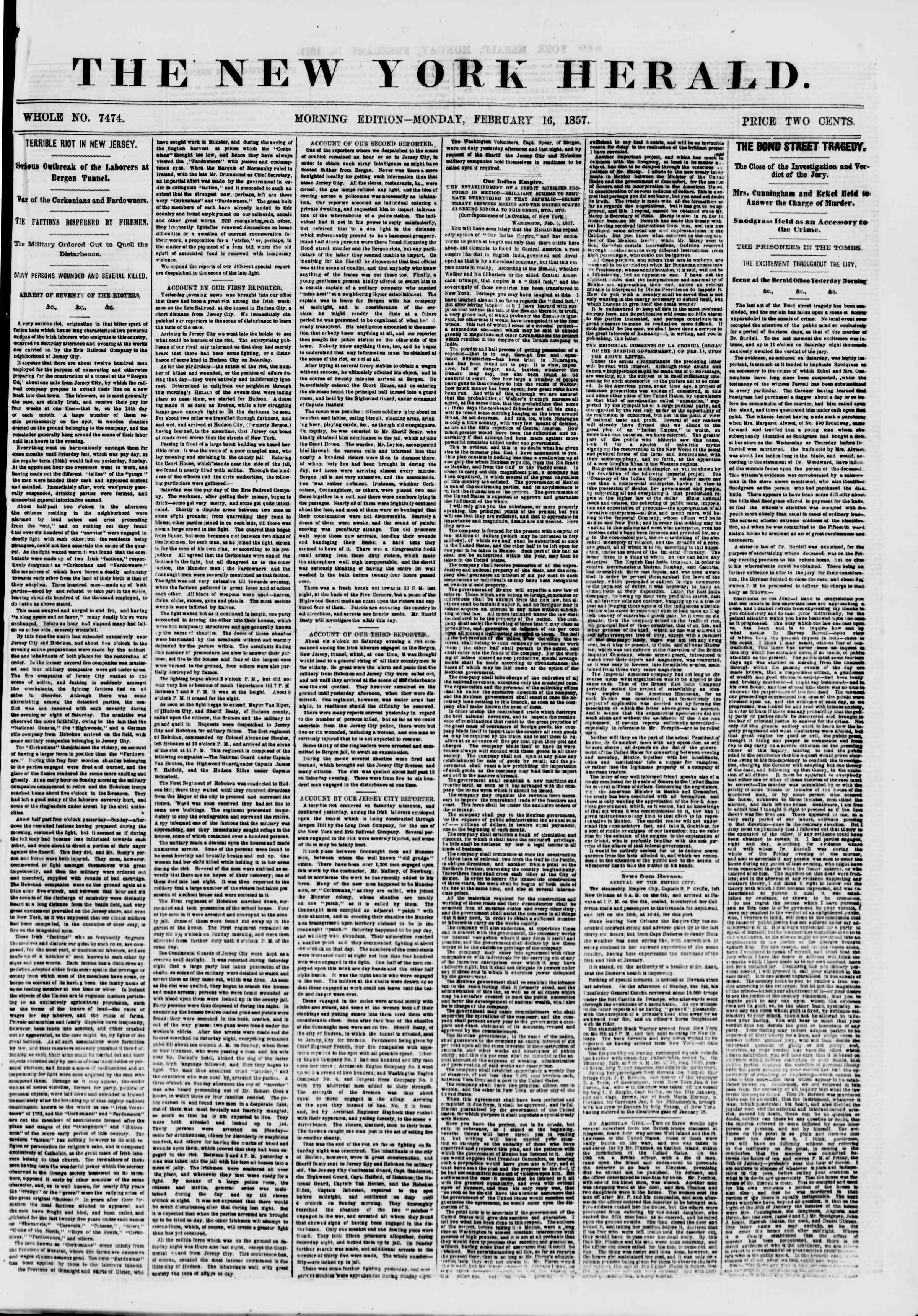 Newspaper of The New York Herald dated February 16, 1857 Page 1