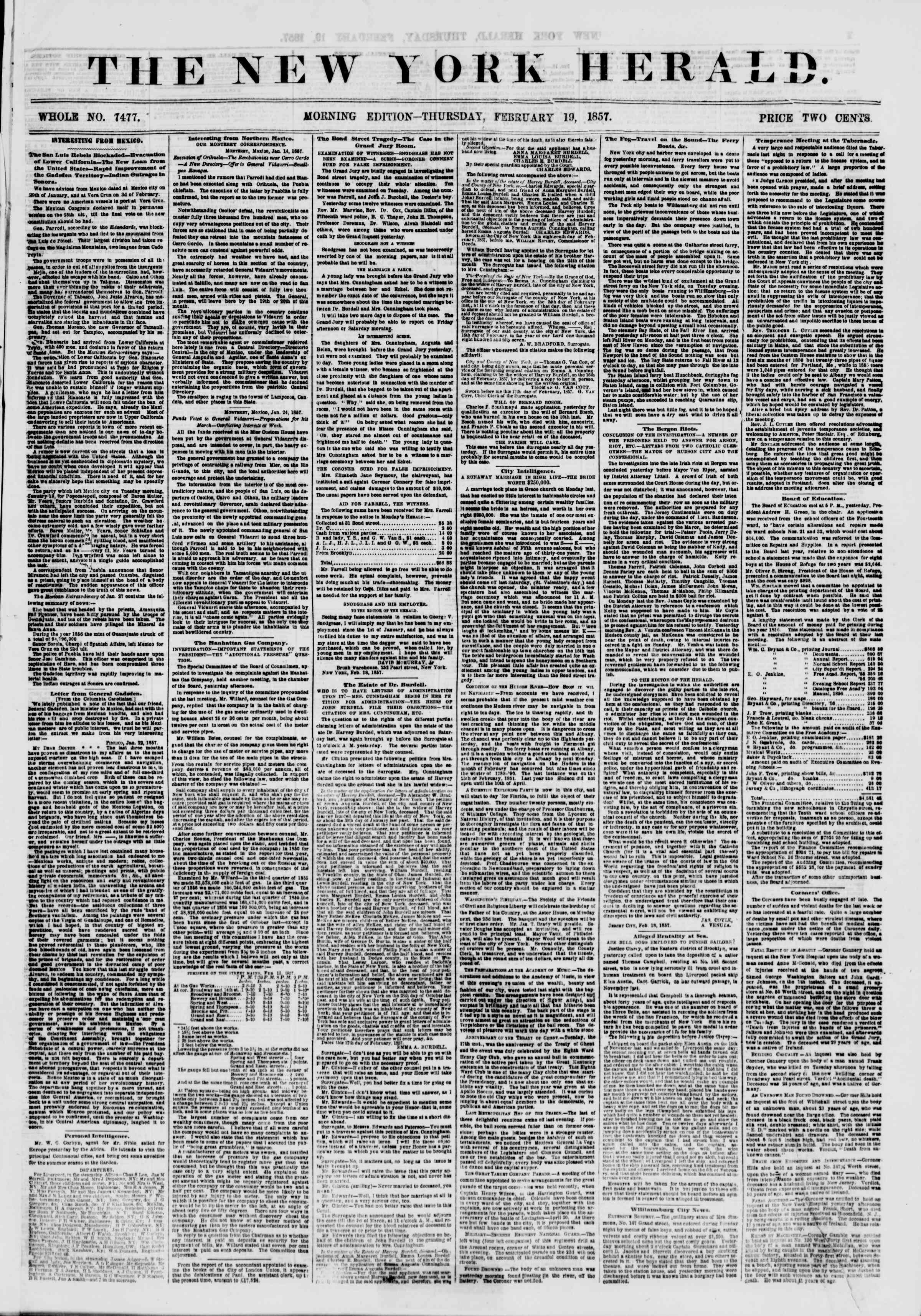 Newspaper of The New York Herald dated February 19, 1857 Page 1