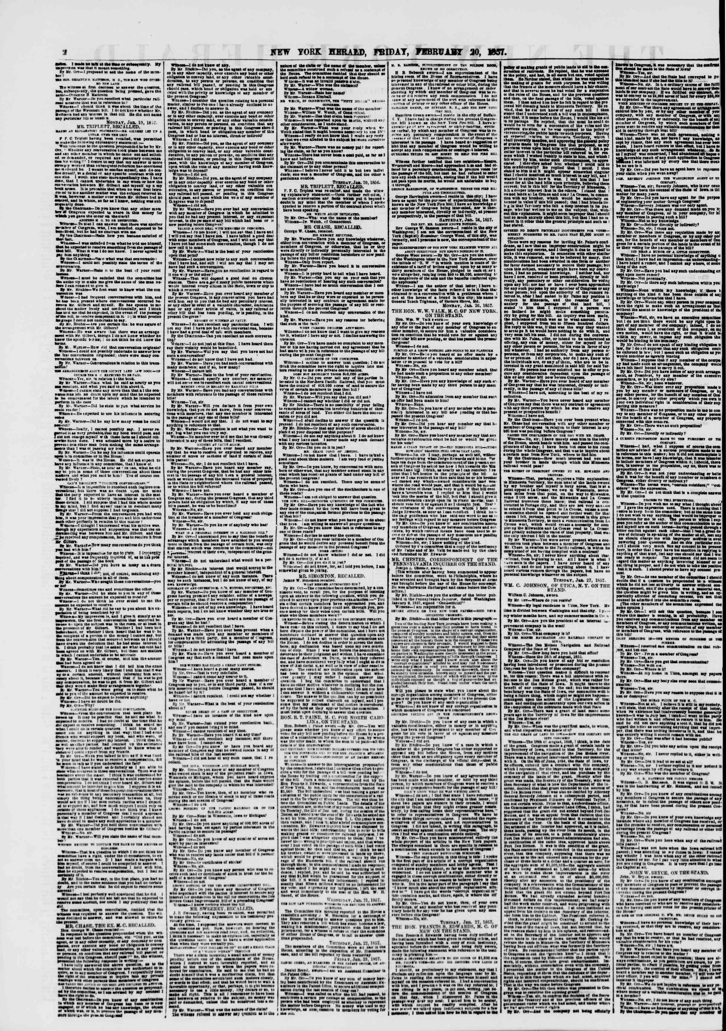 Newspaper of The New York Herald dated February 20, 1857 Page 2