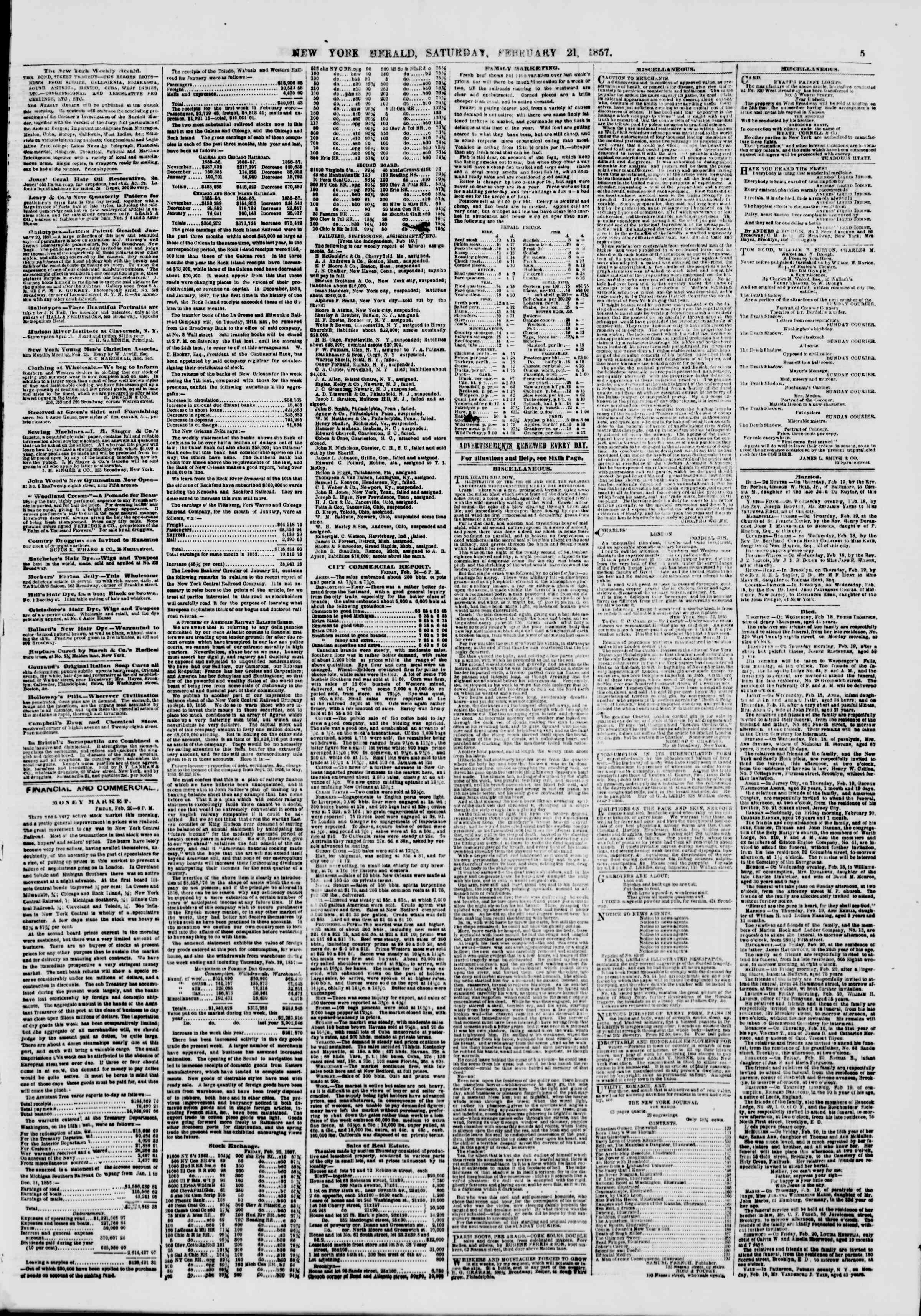 Newspaper of The New York Herald dated February 21, 1857 Page 5