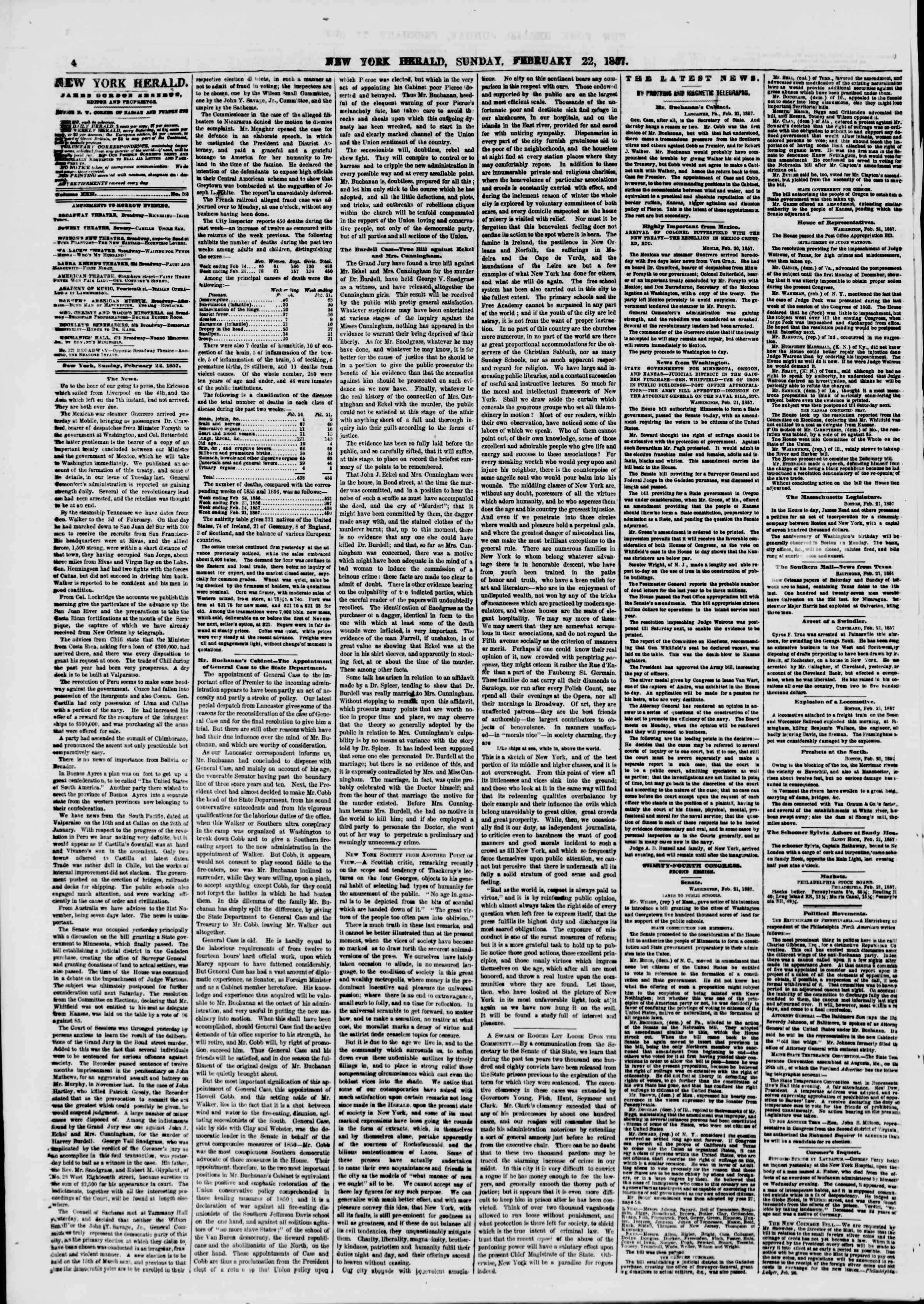 Newspaper of The New York Herald dated February 22, 1857 Page 4