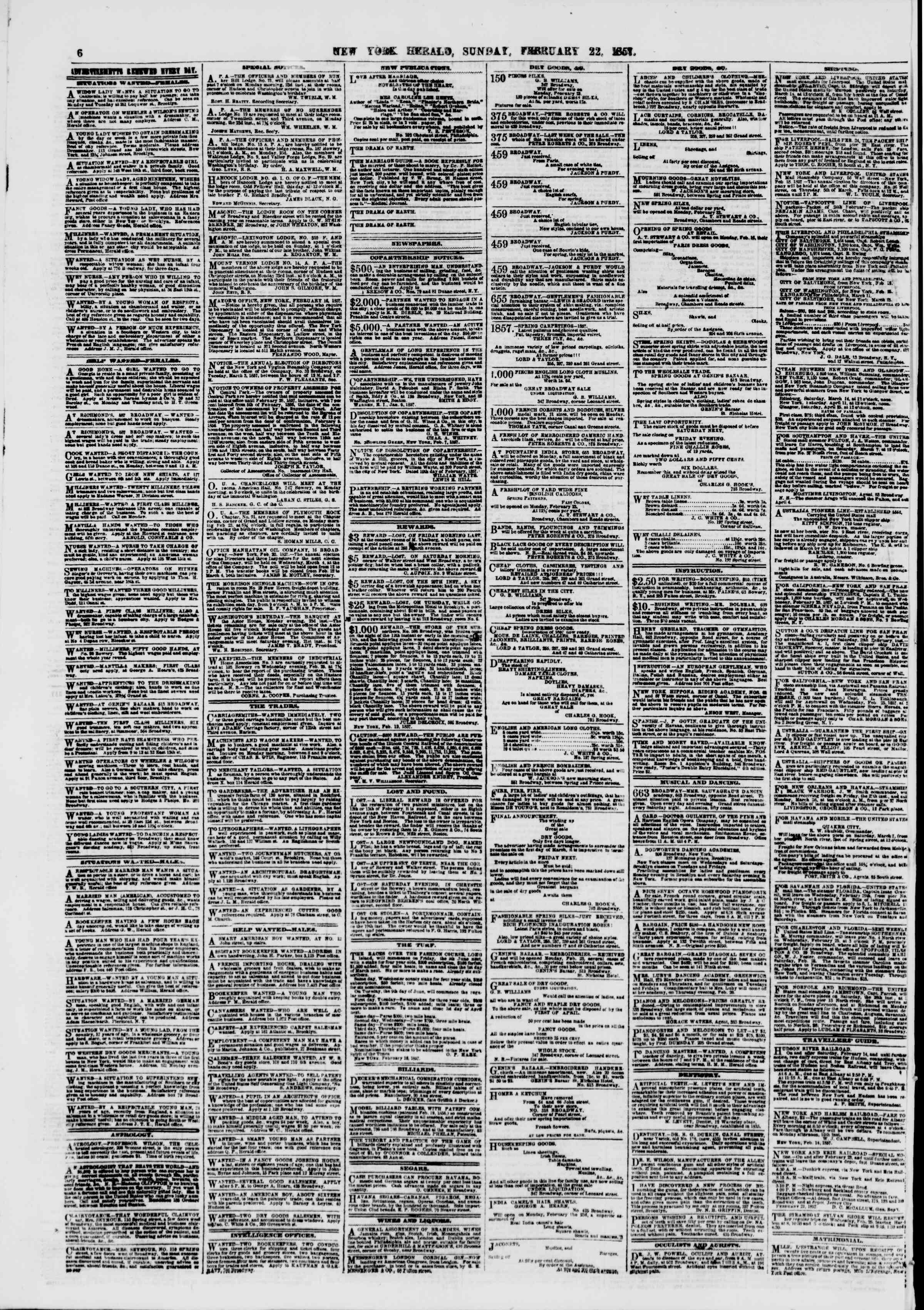 Newspaper of The New York Herald dated February 22, 1857 Page 6