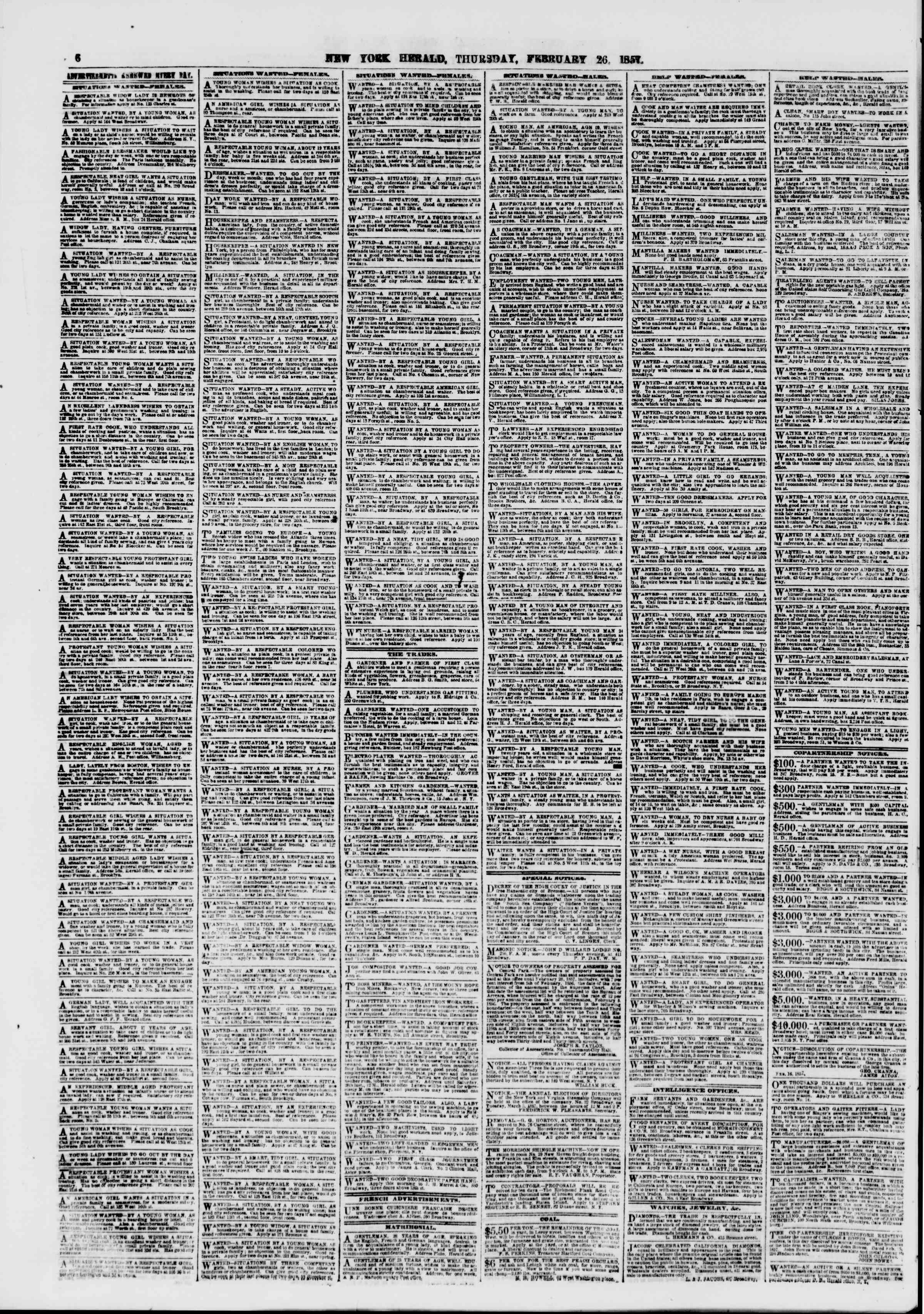 Newspaper of The New York Herald dated February 26, 1857 Page 6