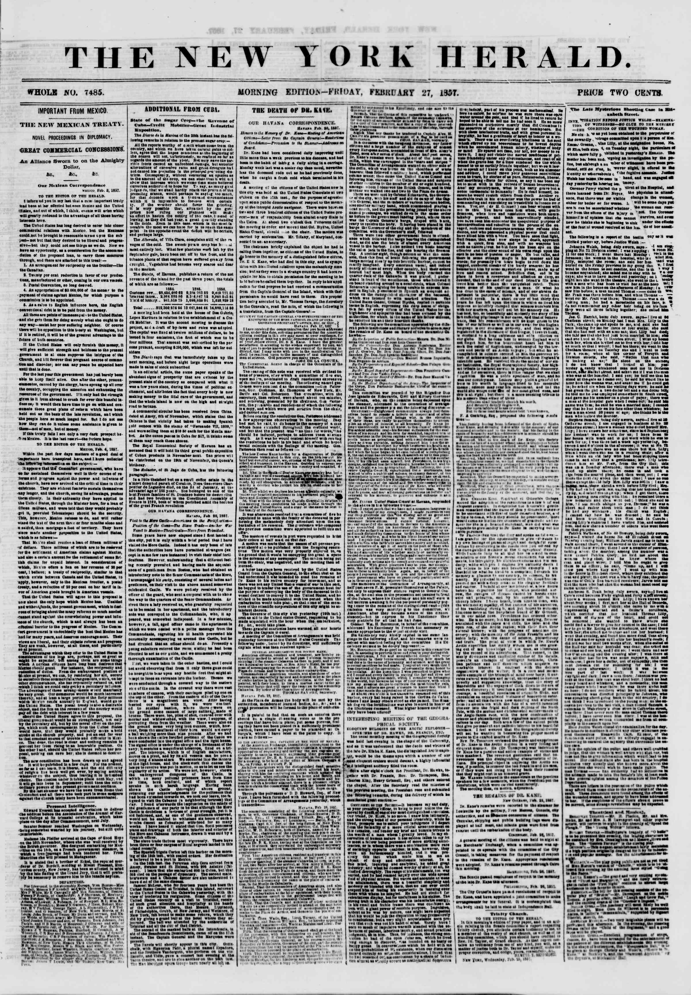 Newspaper of The New York Herald dated February 27, 1857 Page 1