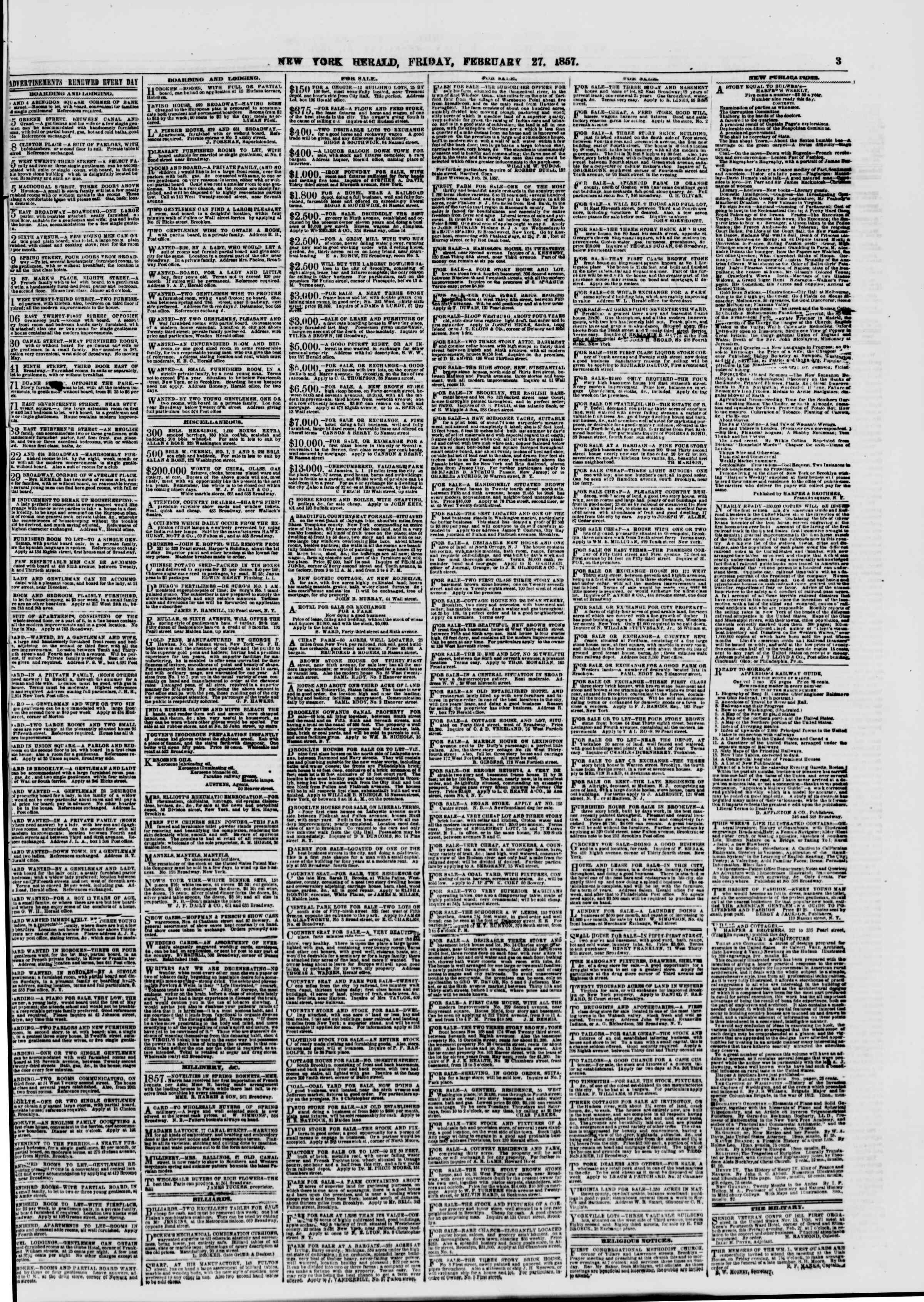 Newspaper of The New York Herald dated February 27, 1857 Page 3