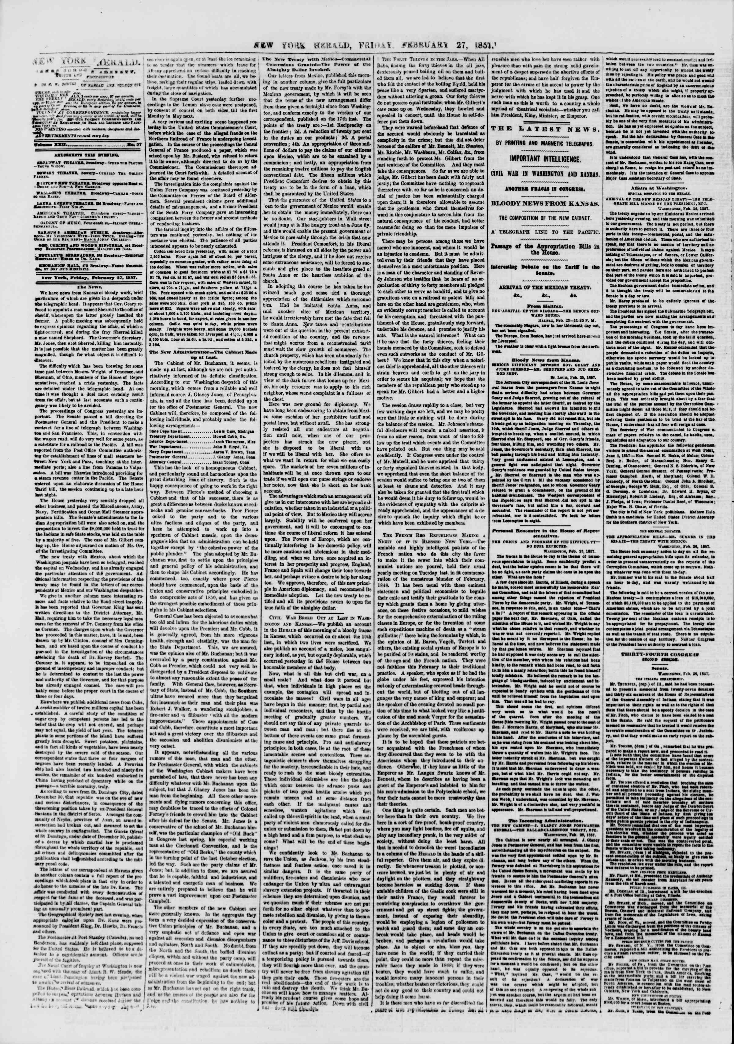 Newspaper of The New York Herald dated February 27, 1857 Page 4