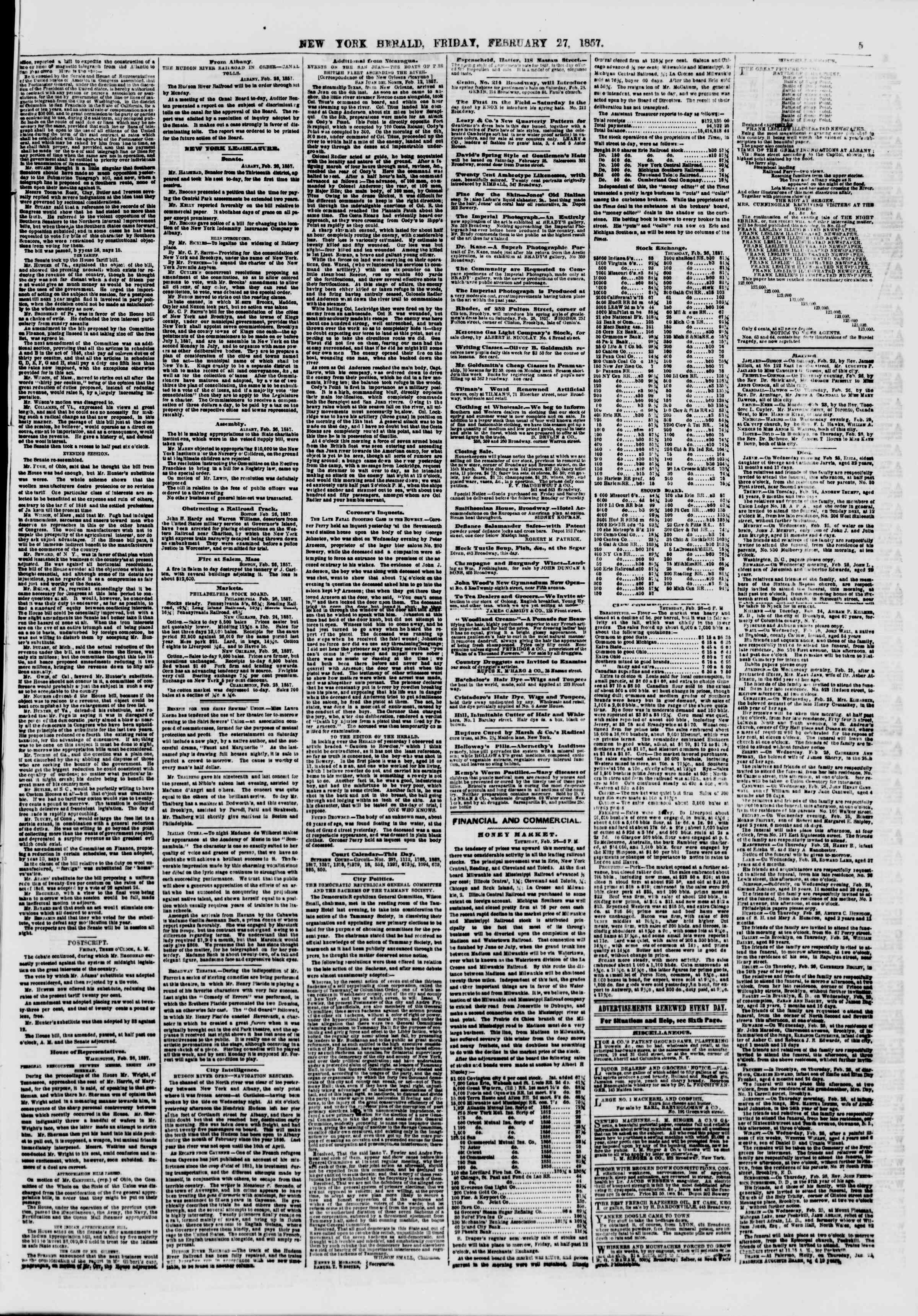 Newspaper of The New York Herald dated February 27, 1857 Page 5