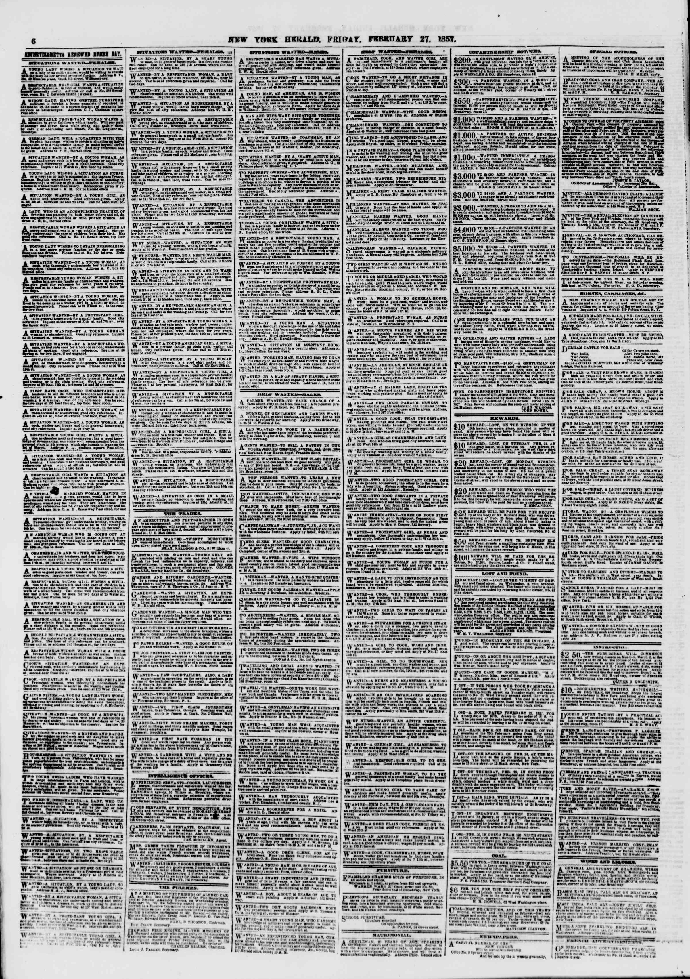 Newspaper of The New York Herald dated February 27, 1857 Page 6