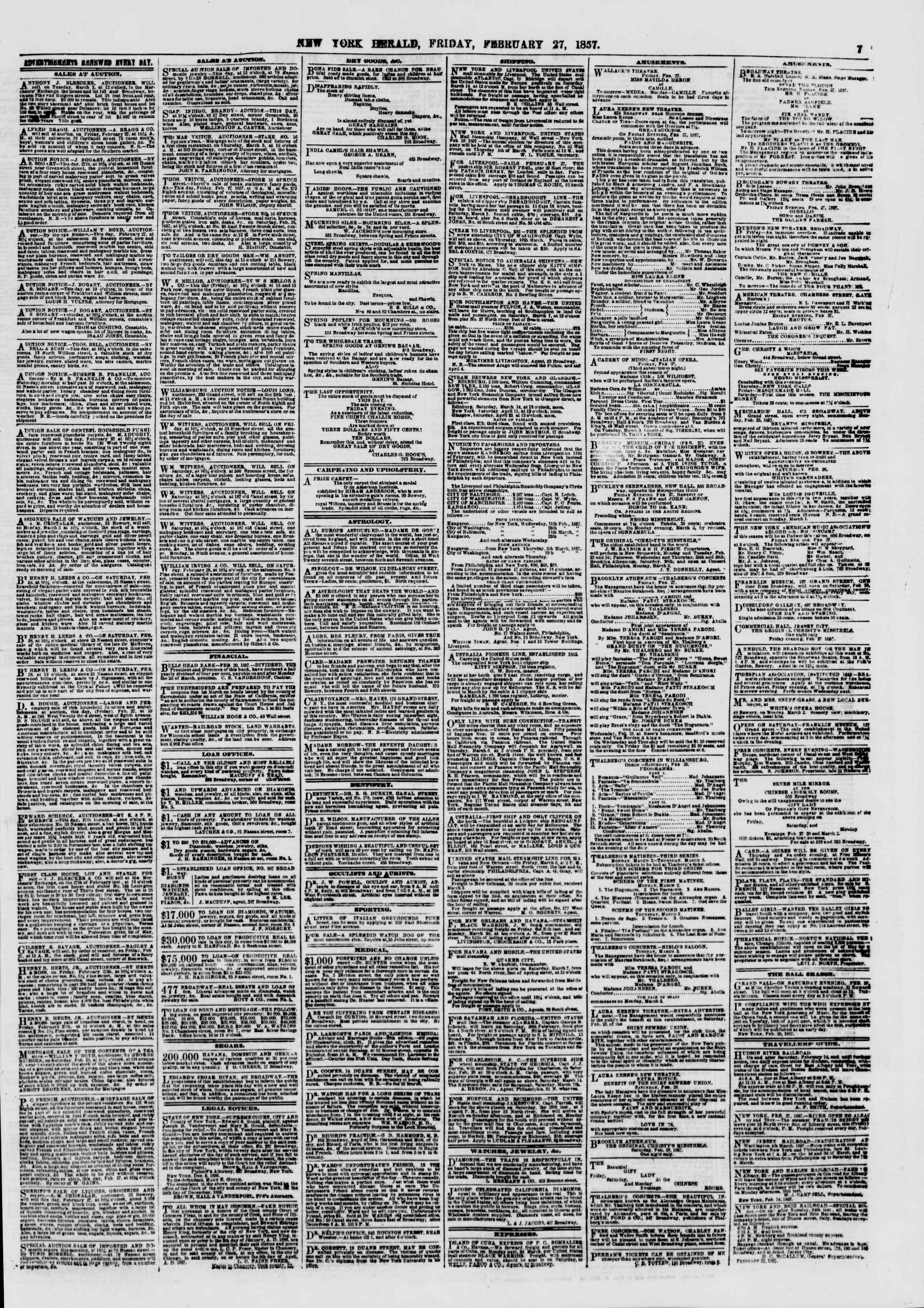 Newspaper of The New York Herald dated February 27, 1857 Page 7