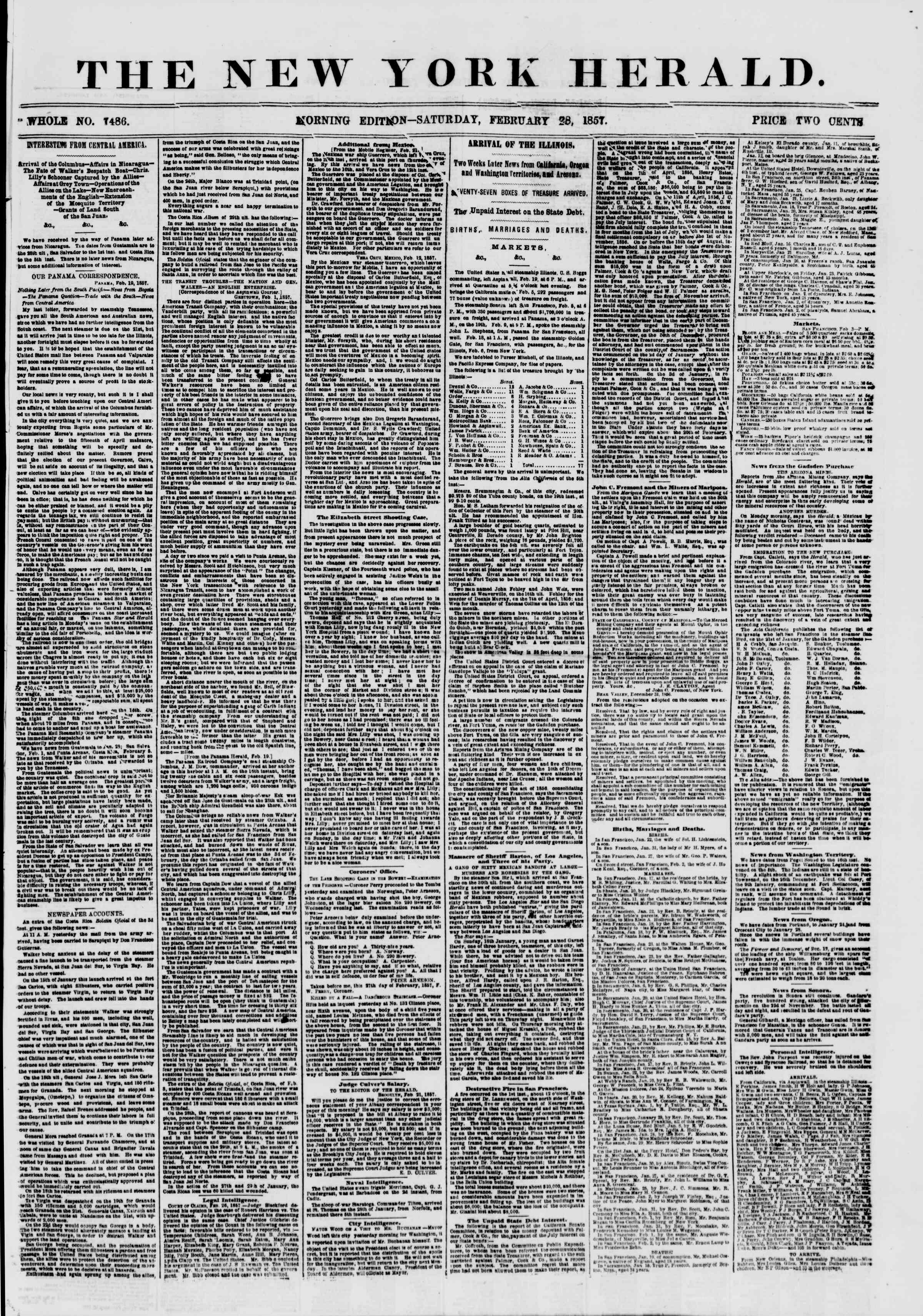 Newspaper of The New York Herald dated February 28, 1857 Page 1