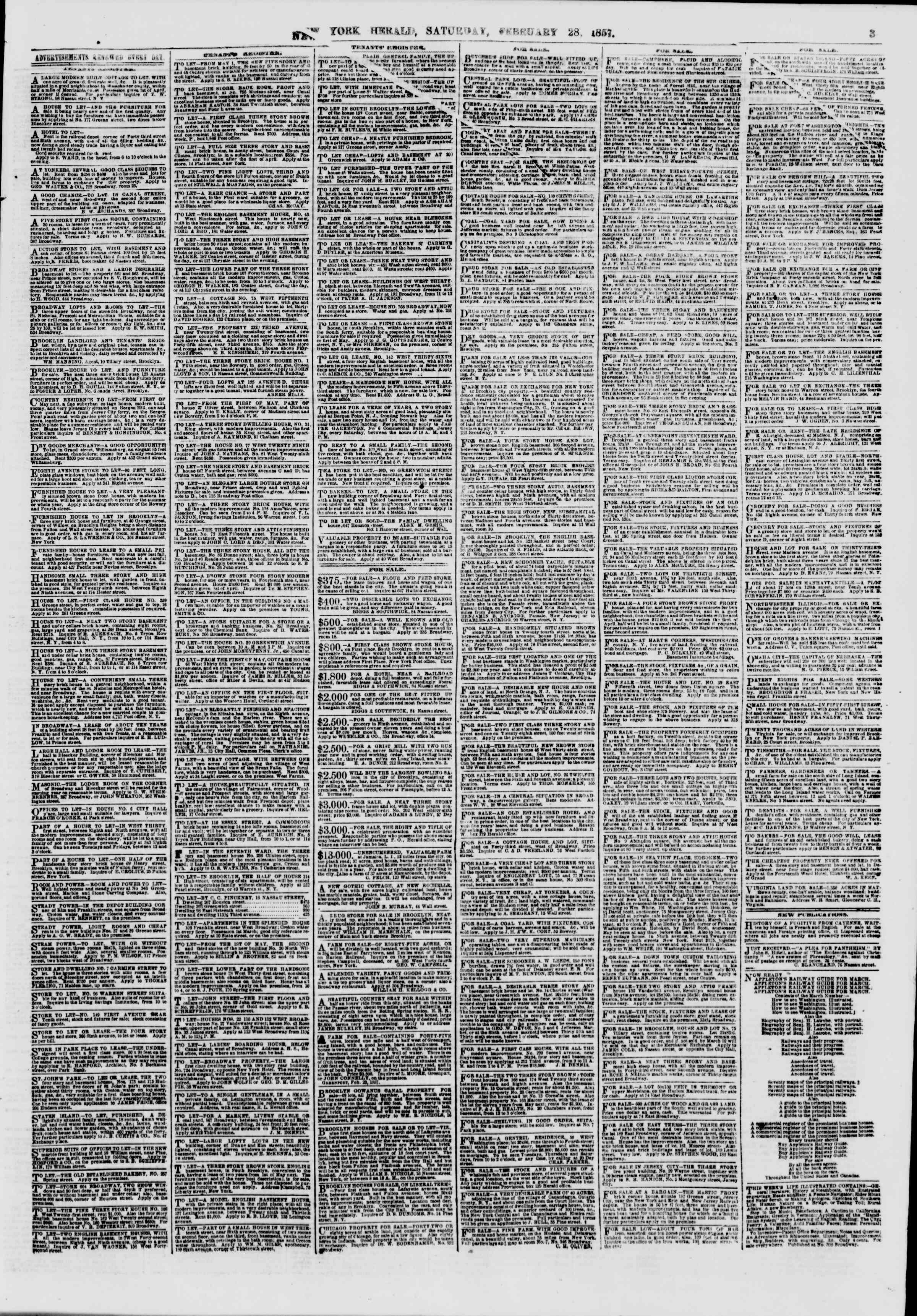 Newspaper of The New York Herald dated February 28, 1857 Page 3