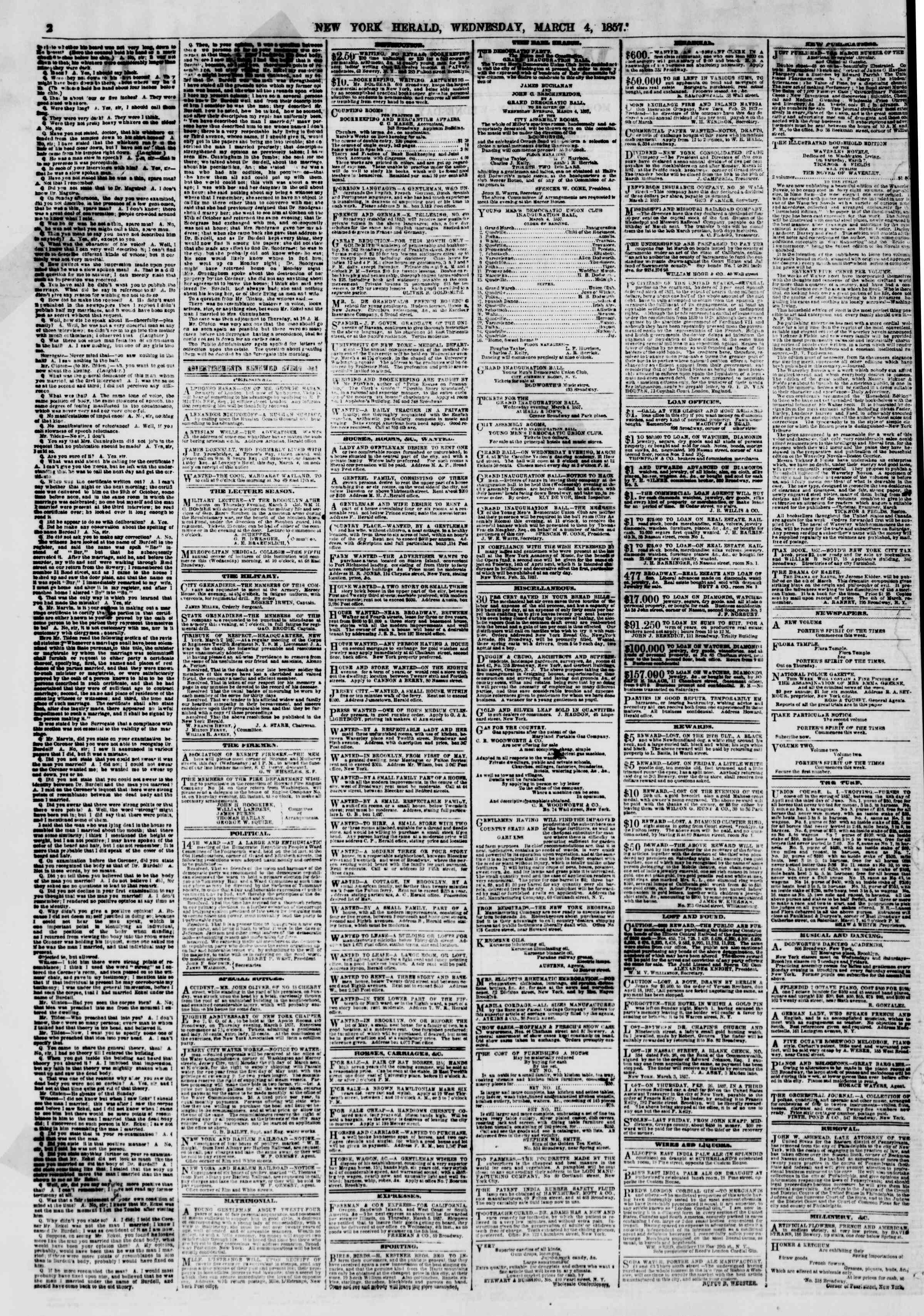 Newspaper of The New York Herald dated March 4, 1857 Page 2