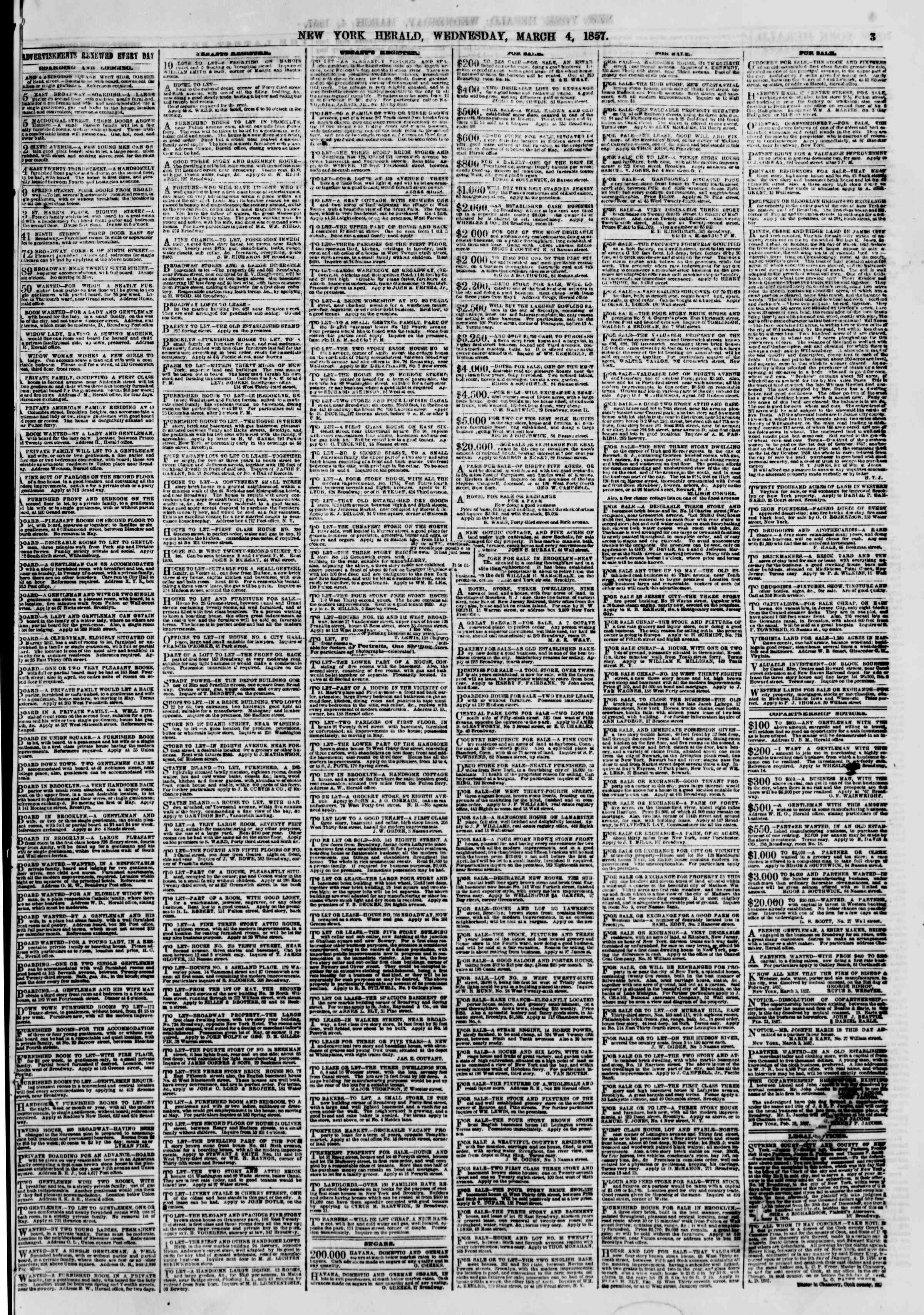 Newspaper of The New York Herald dated March 4, 1857 Page 3
