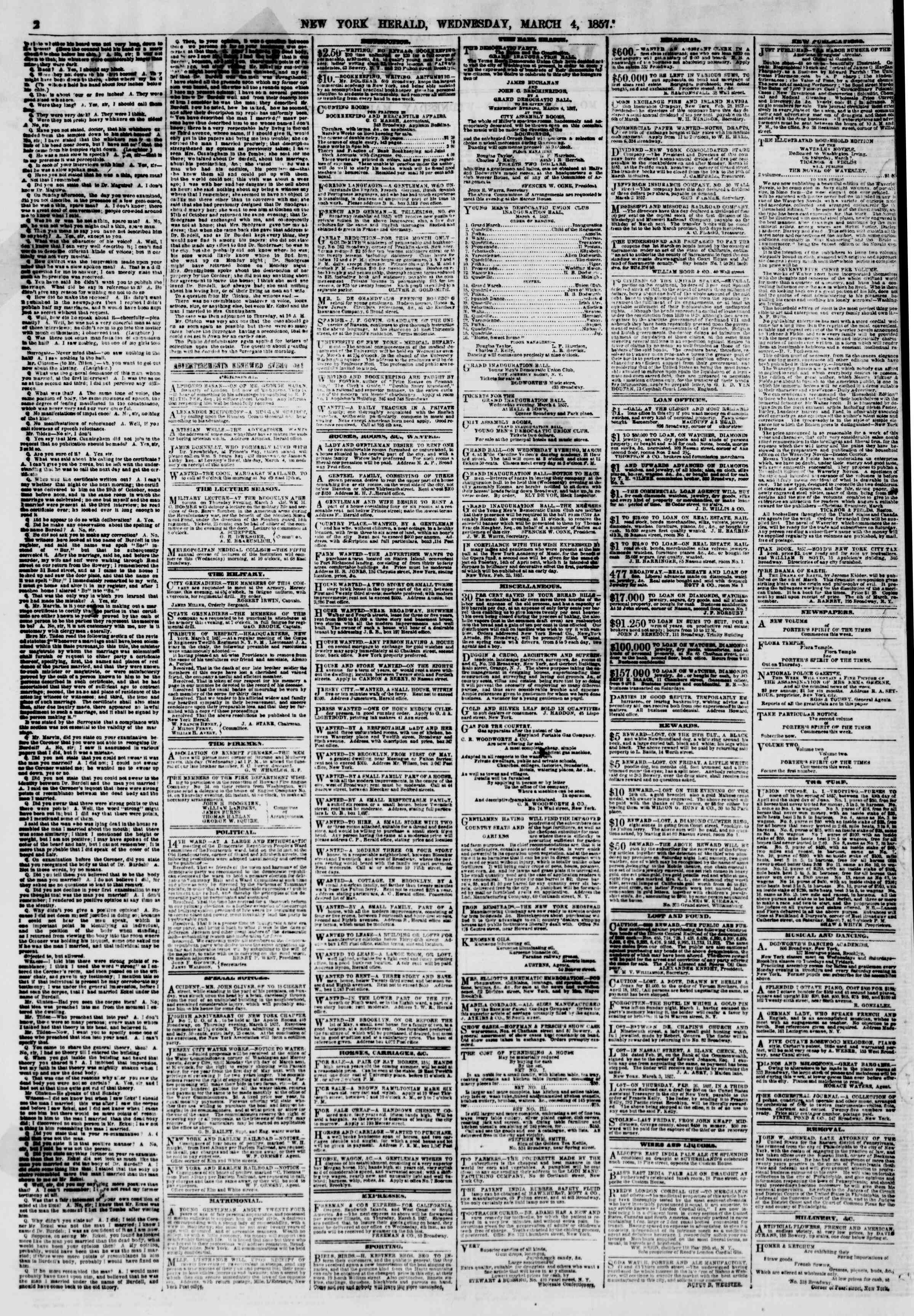 Newspaper of The New York Herald dated March 4, 1857 Page 4