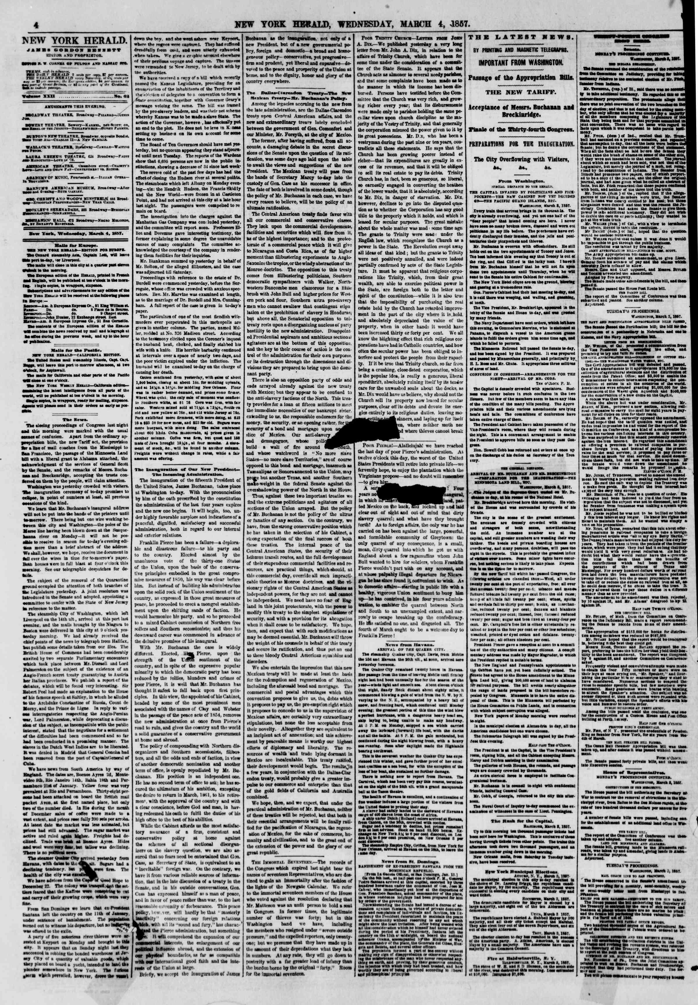 Newspaper of The New York Herald dated March 4, 1857 Page 6