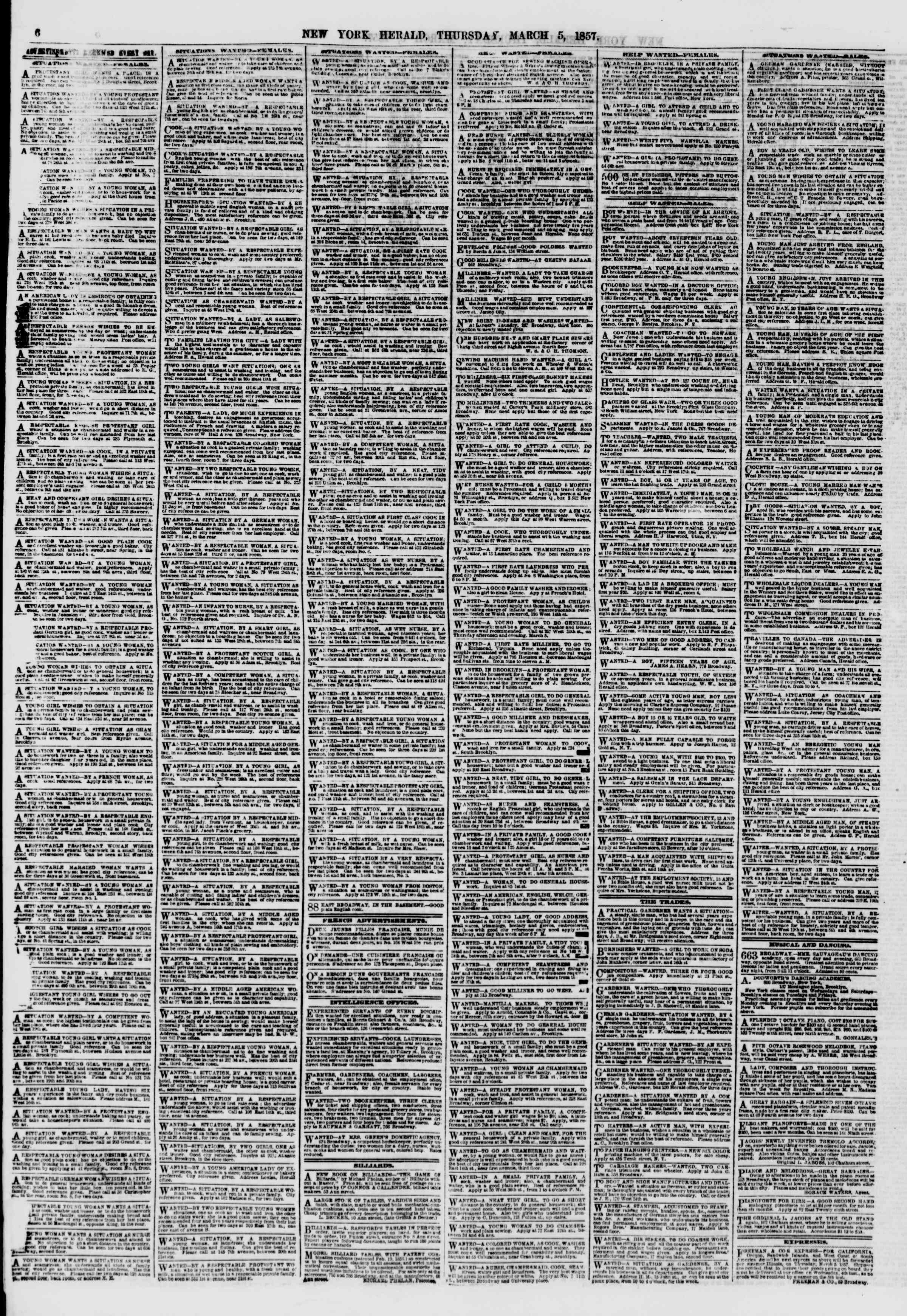 Newspaper of The New York Herald dated March 5, 1857 Page 6