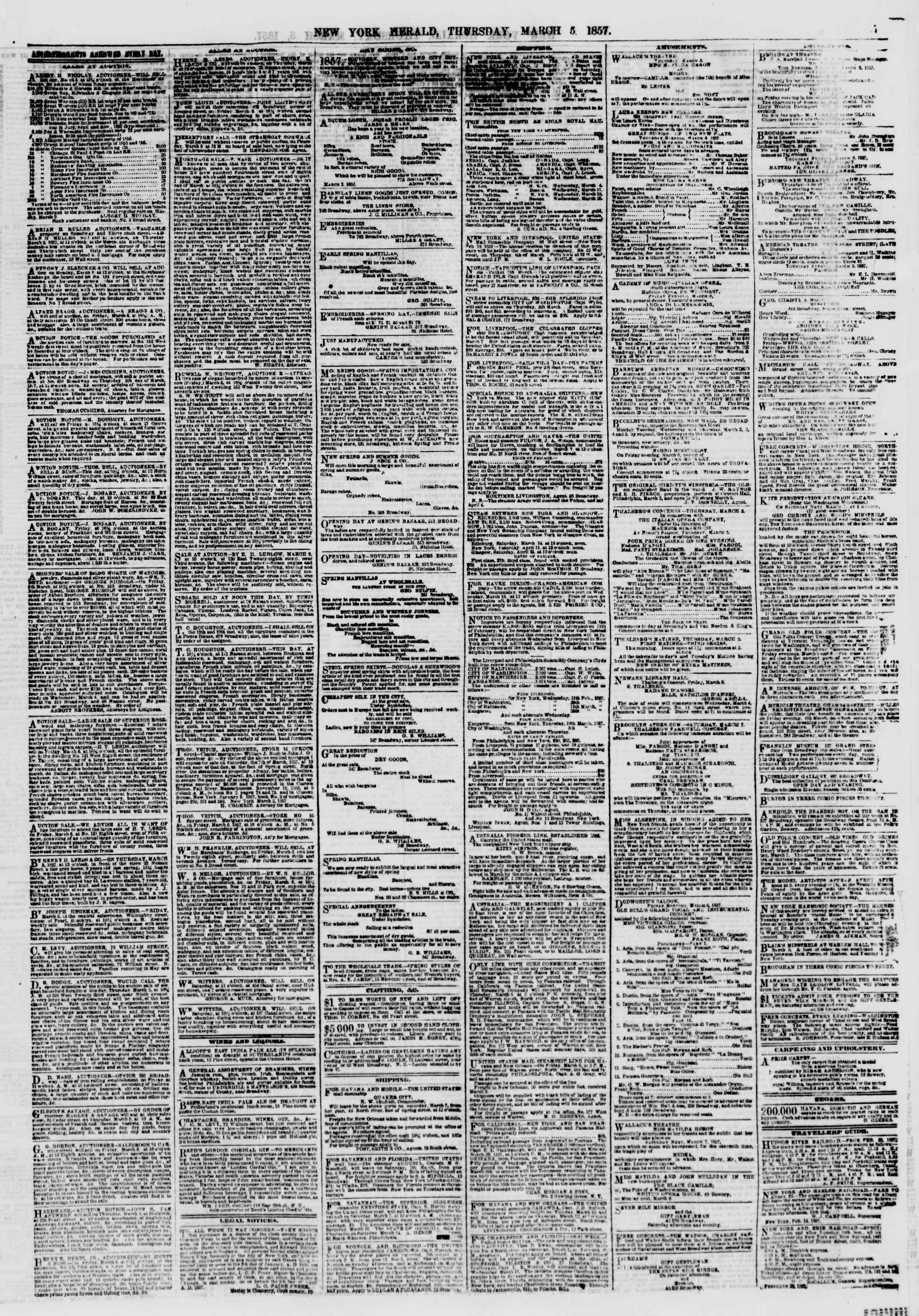 Newspaper of The New York Herald dated March 5, 1857 Page 7
