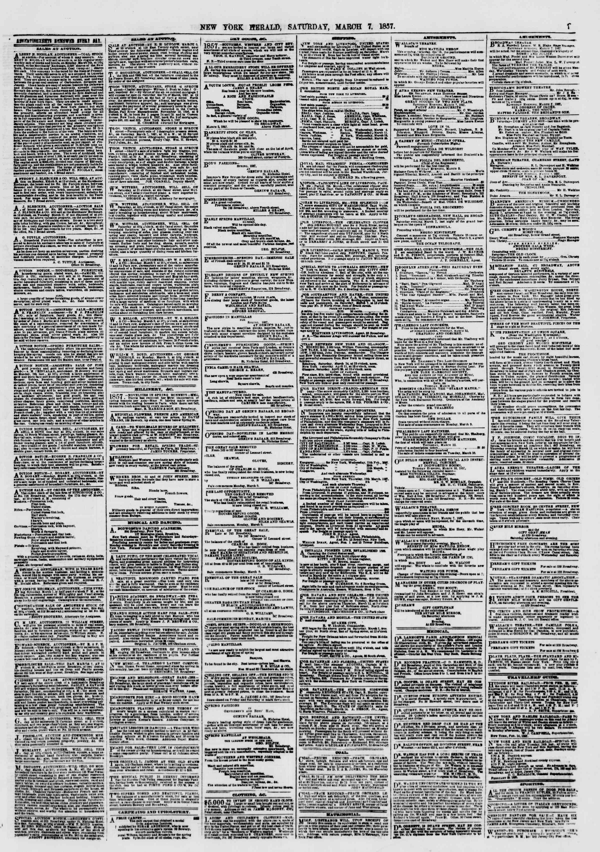 Newspaper of The New York Herald dated March 7, 1857 Page 7