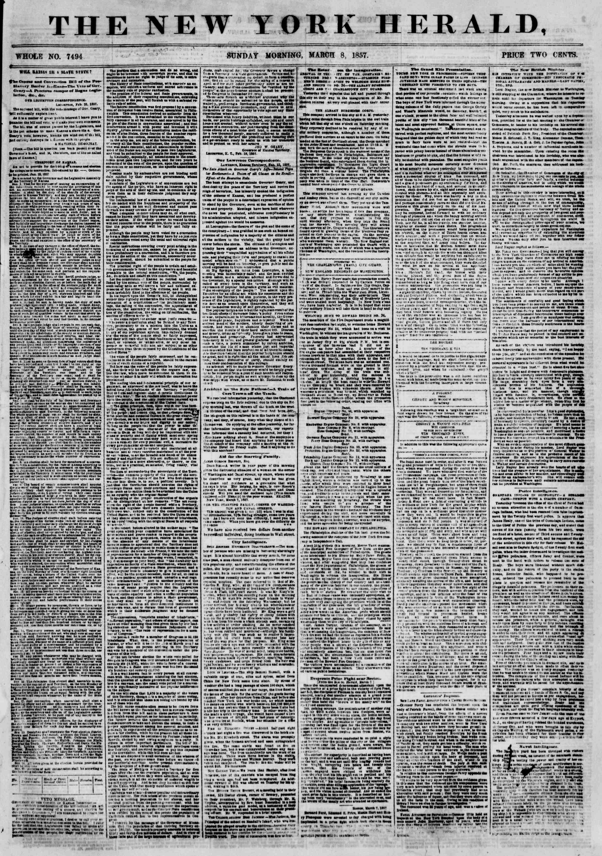 Newspaper of The New York Herald dated March 8, 1857 Page 1