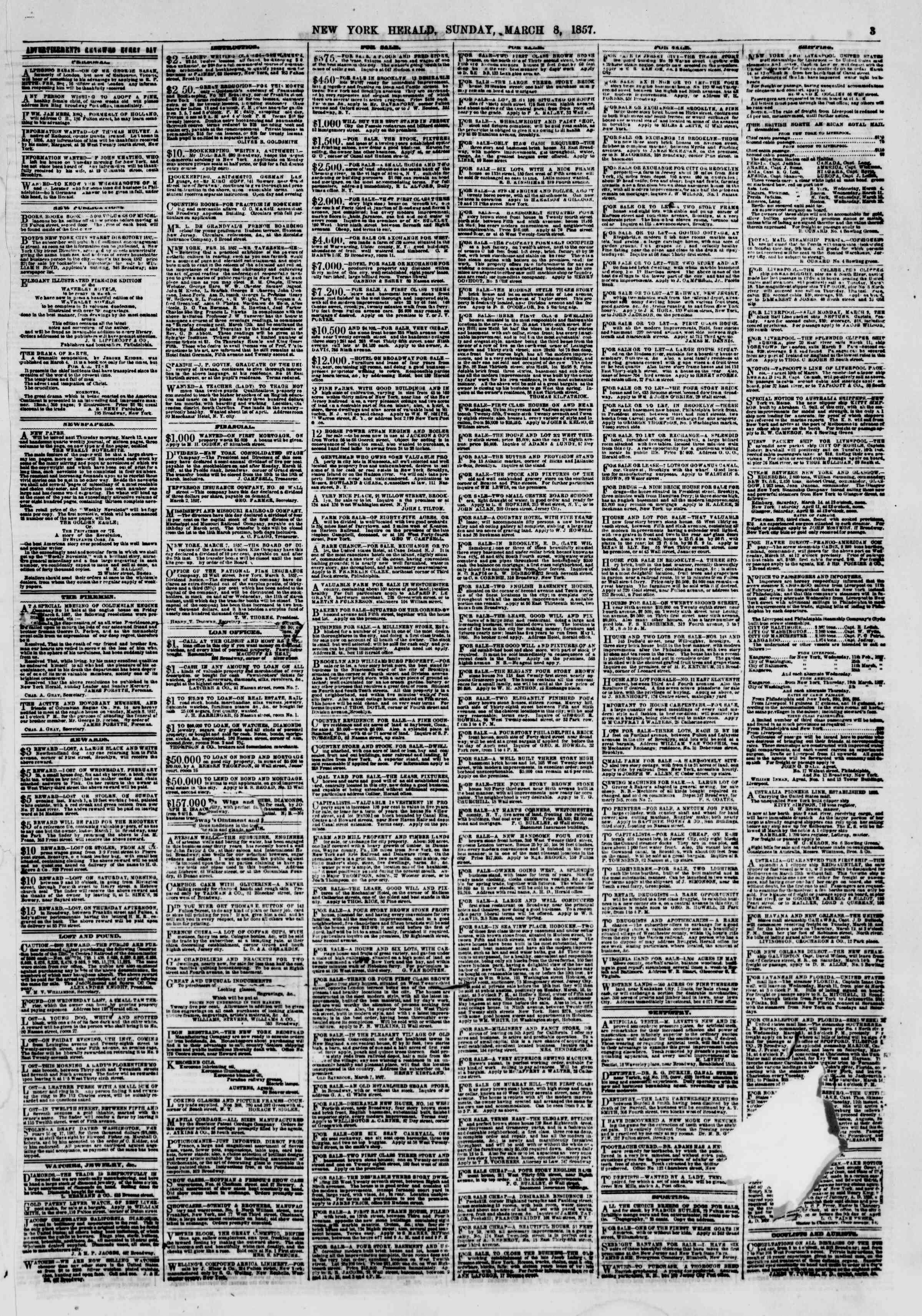 Newspaper of The New York Herald dated March 8, 1857 Page 3