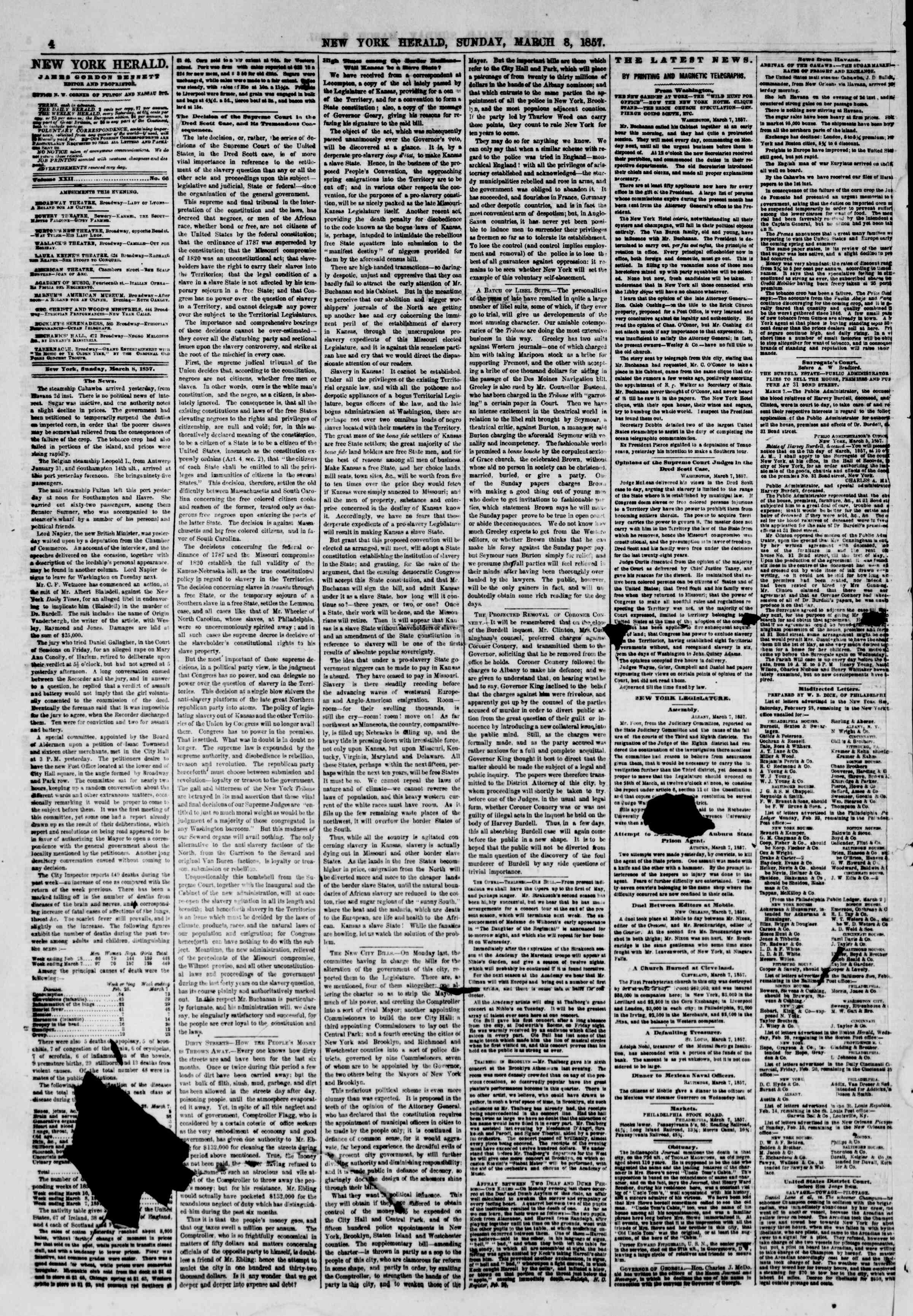 Newspaper of The New York Herald dated March 8, 1857 Page 6