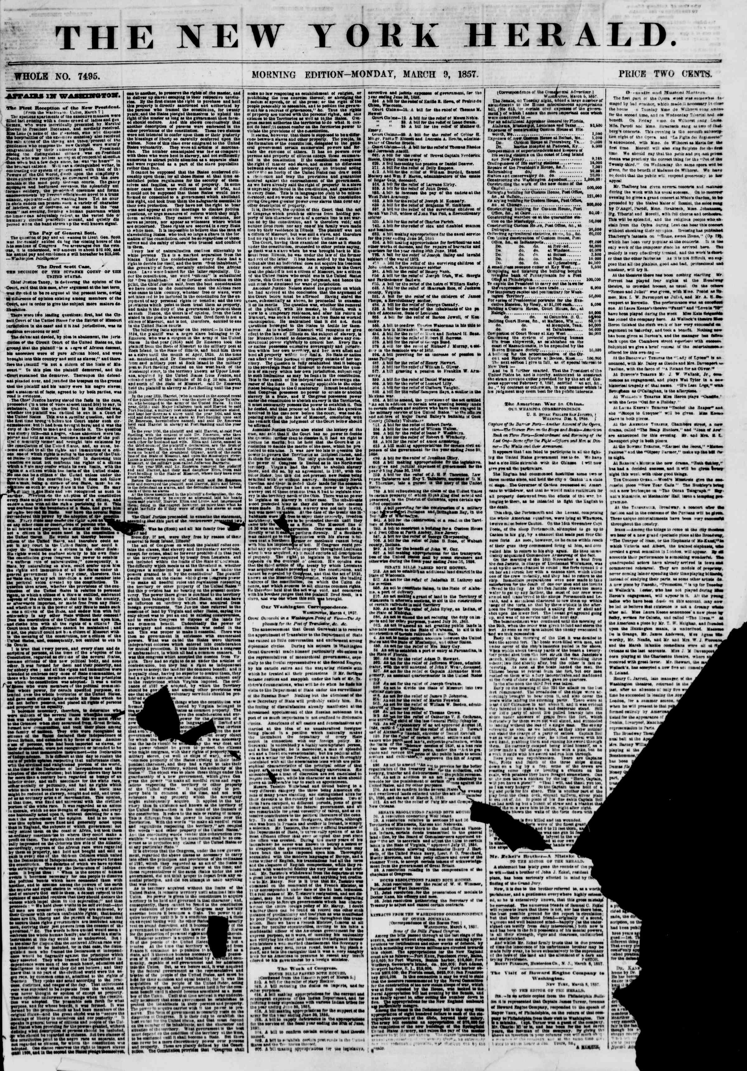 Newspaper of The New York Herald dated March 9, 1857 Page 1