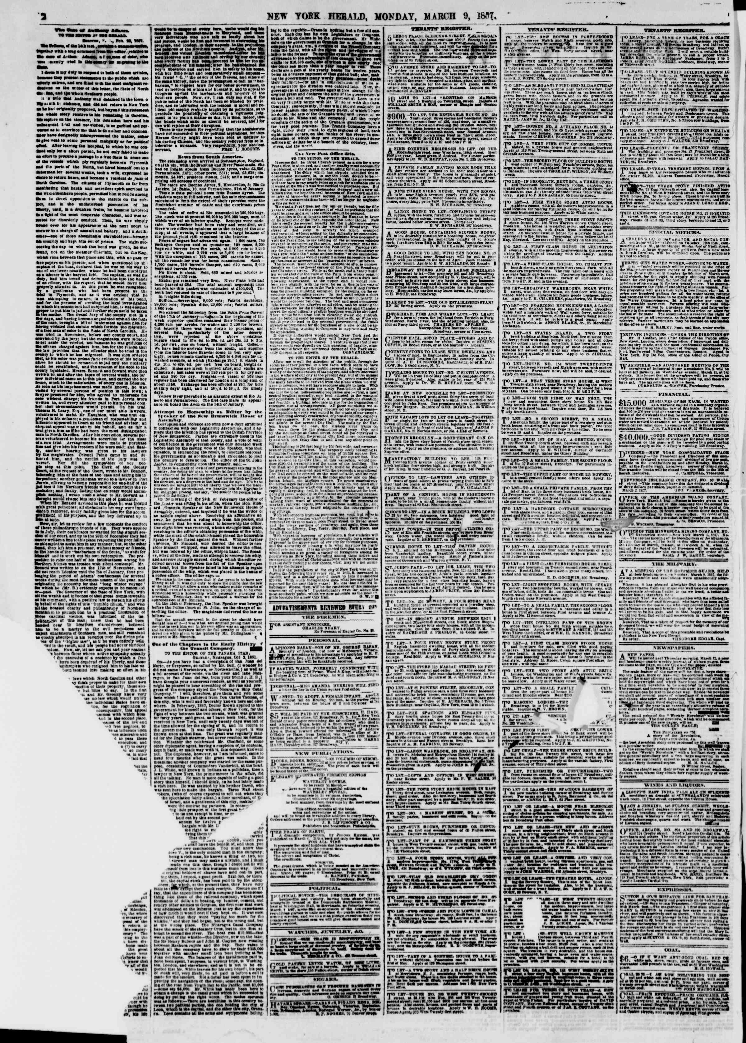Newspaper of The New York Herald dated March 9, 1857 Page 2