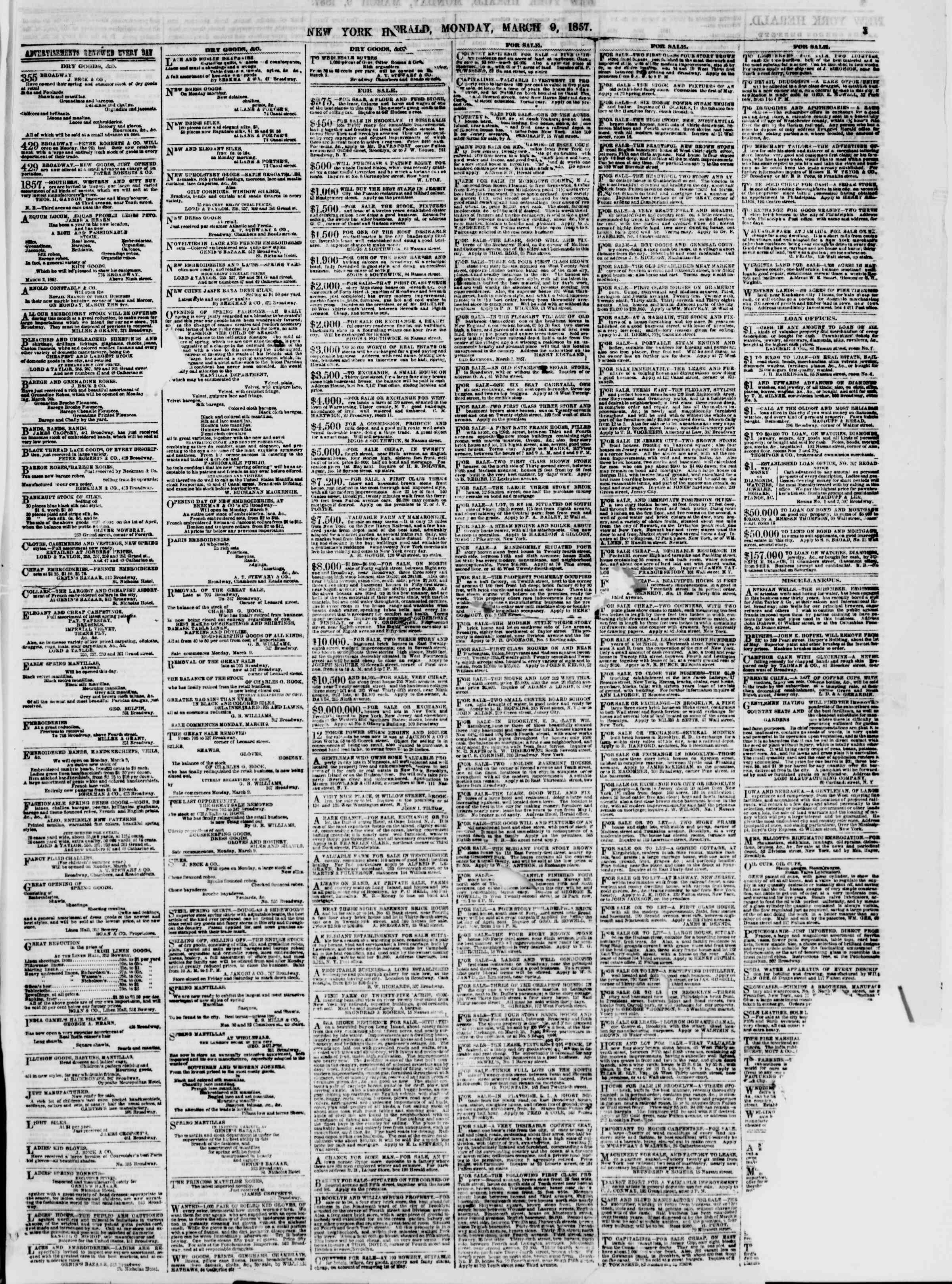 Newspaper of The New York Herald dated March 9, 1857 Page 3